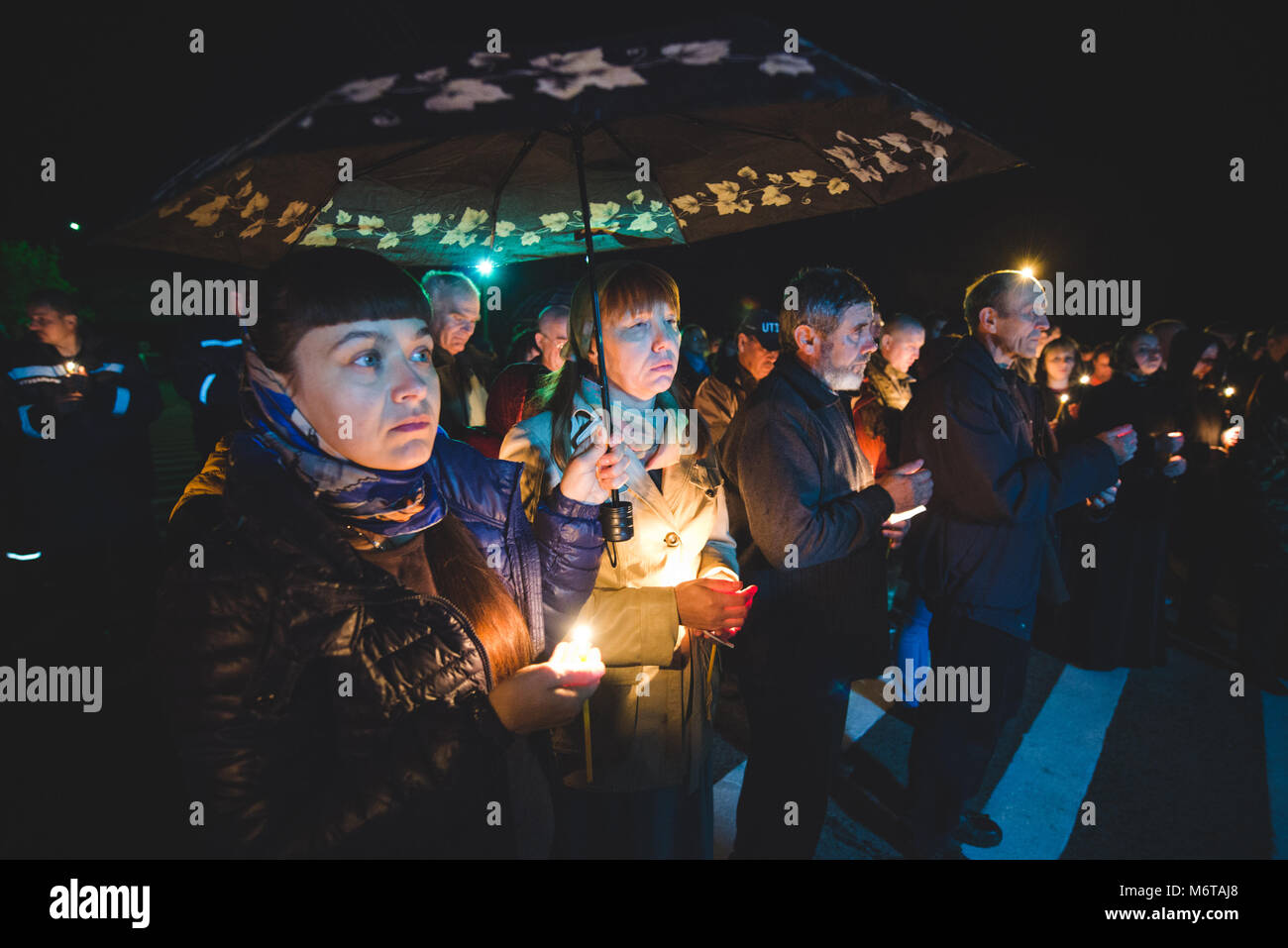 Ukraine, Chernobyl main square, 2016 April 25th: People celebrating the 30th anniversary of the Chernobyl nuclear - Stock Image