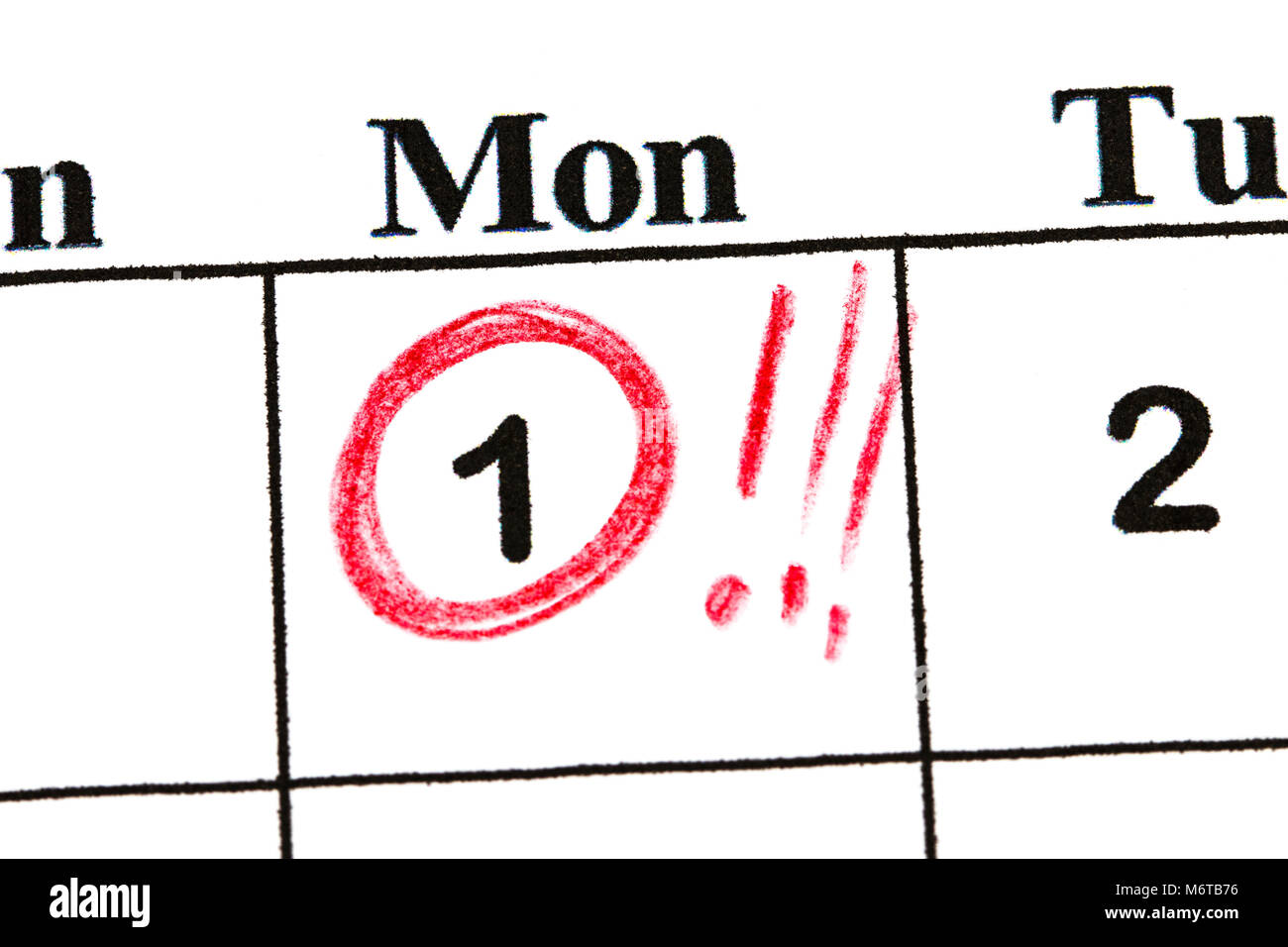 Mark the date number 1. The fifth day of the month is marked with a red circle. - Stock Image