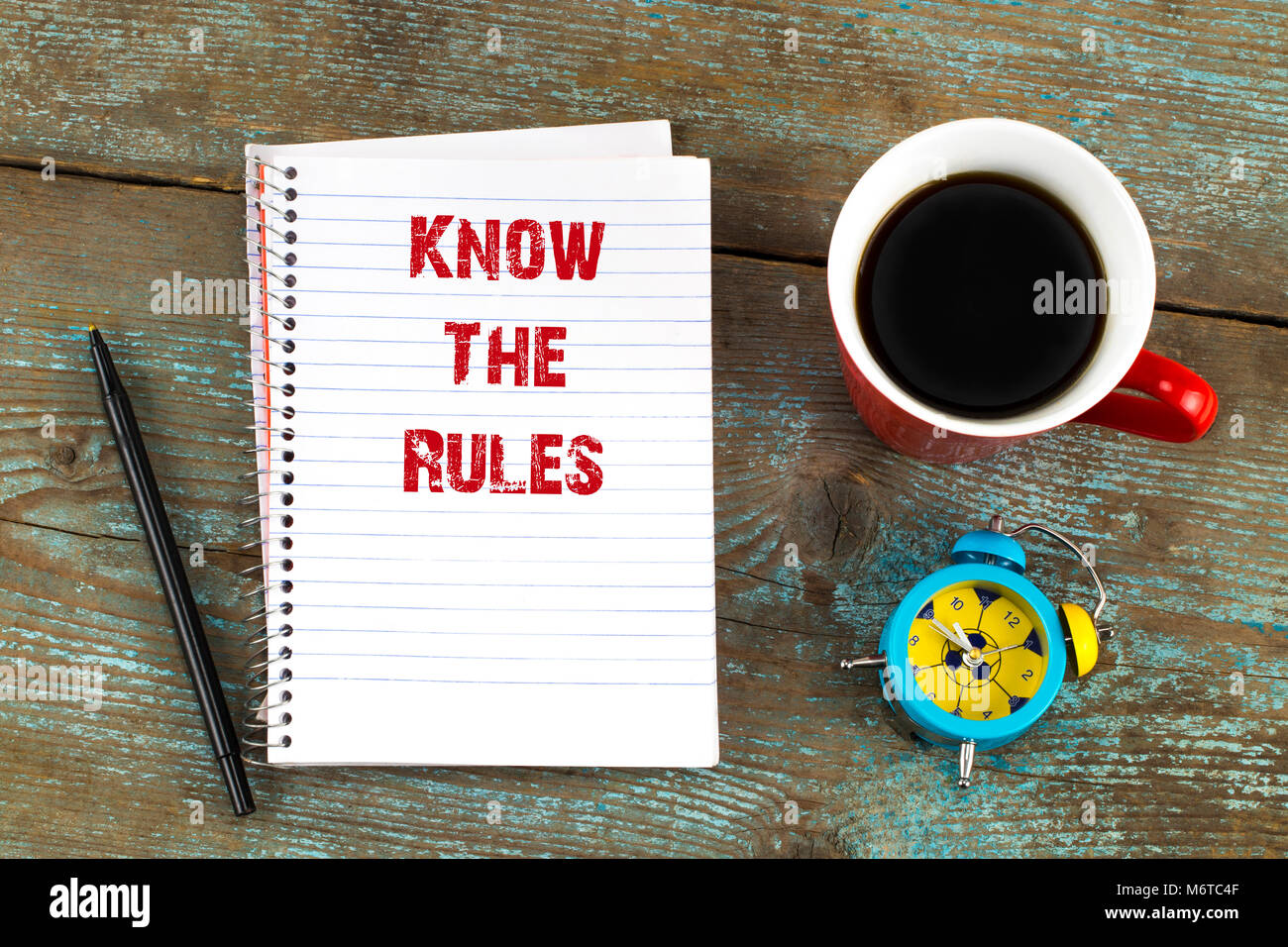 know the rules- text on notepad with, cup of coffee on wooden desk. Top view. - Stock Image