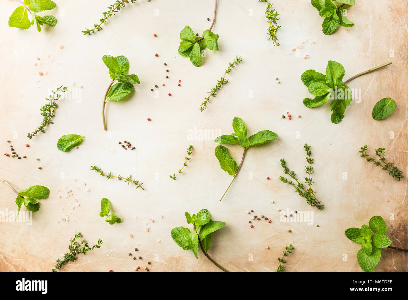 Flat Lay Pattern Of Fresh Green Herbs Mint And Thyme Top View Stock Photo Alamy