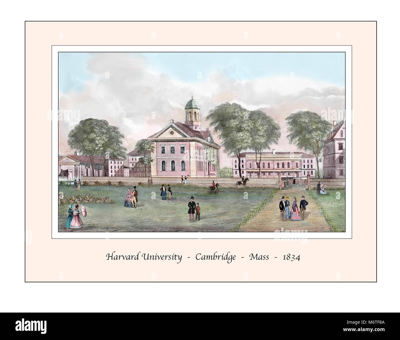 Harvard University Cambridge Massachusetts Original Design based on a 19th century Engraving - Stock Image