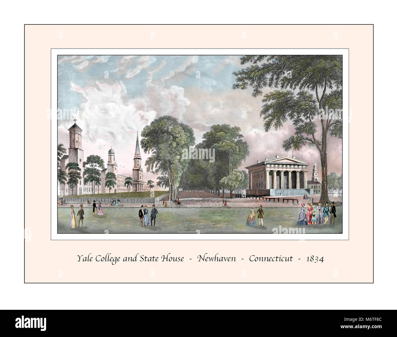 Yale College and State House Original Design based on a 19th century Engraving - Stock Image