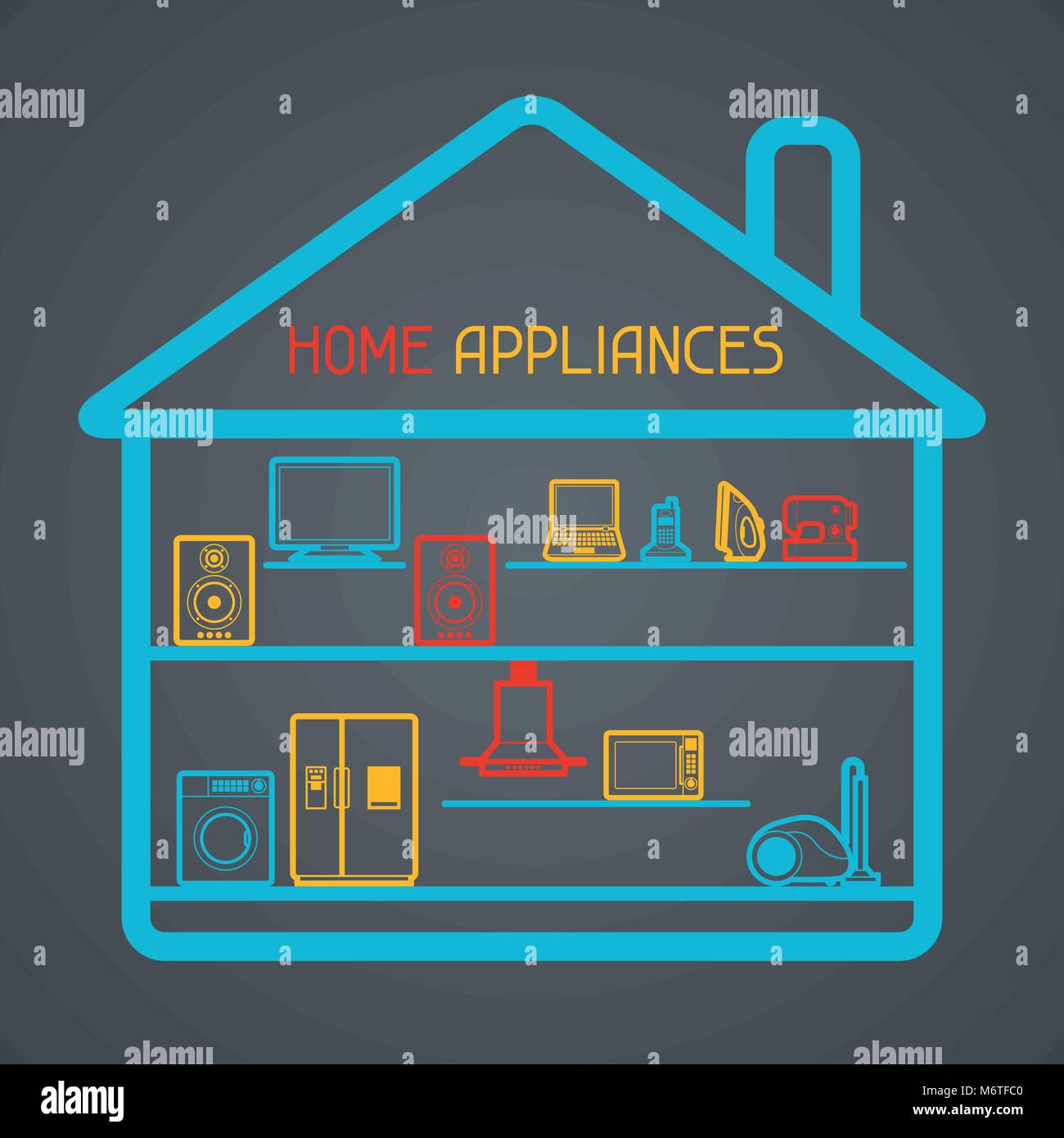 Home appliances and electronics background - Stock Image