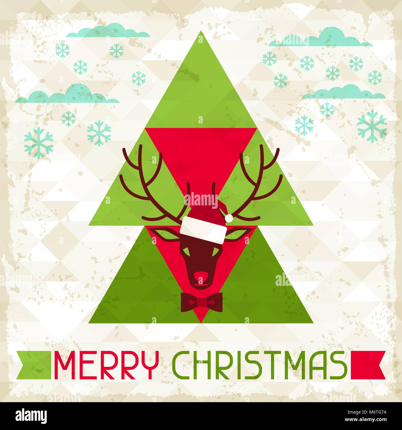Merry Christmas Background With Deer In Hipster Style