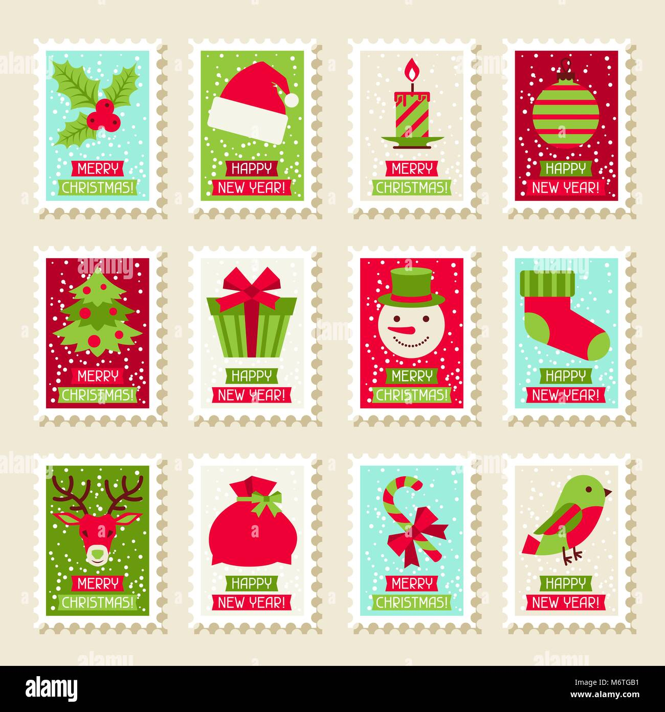Set of postal stamps with Christmas and New Year symbols Stock Vector