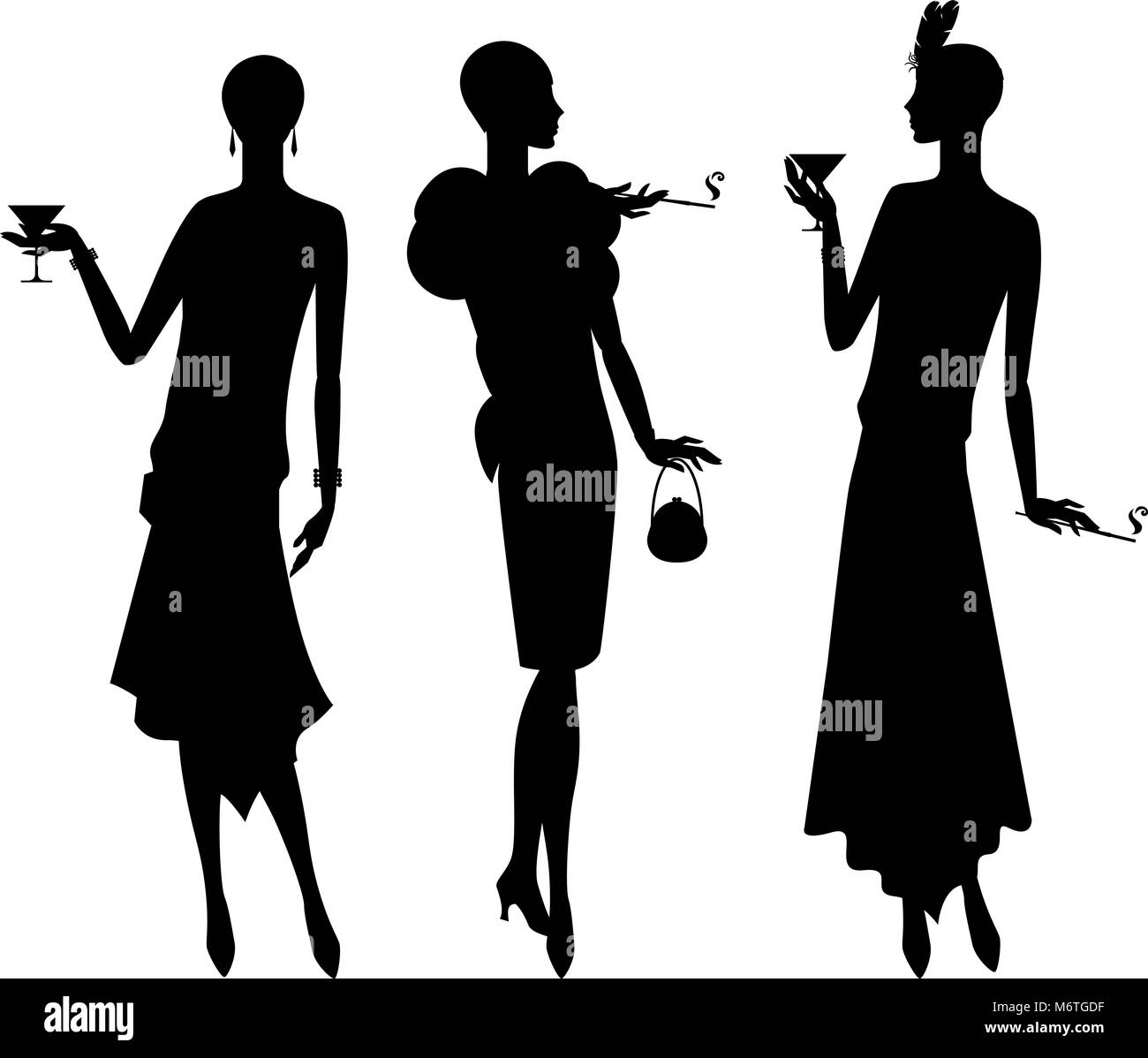 Silhouettes of beautiful girl 1920s style - Stock Vector