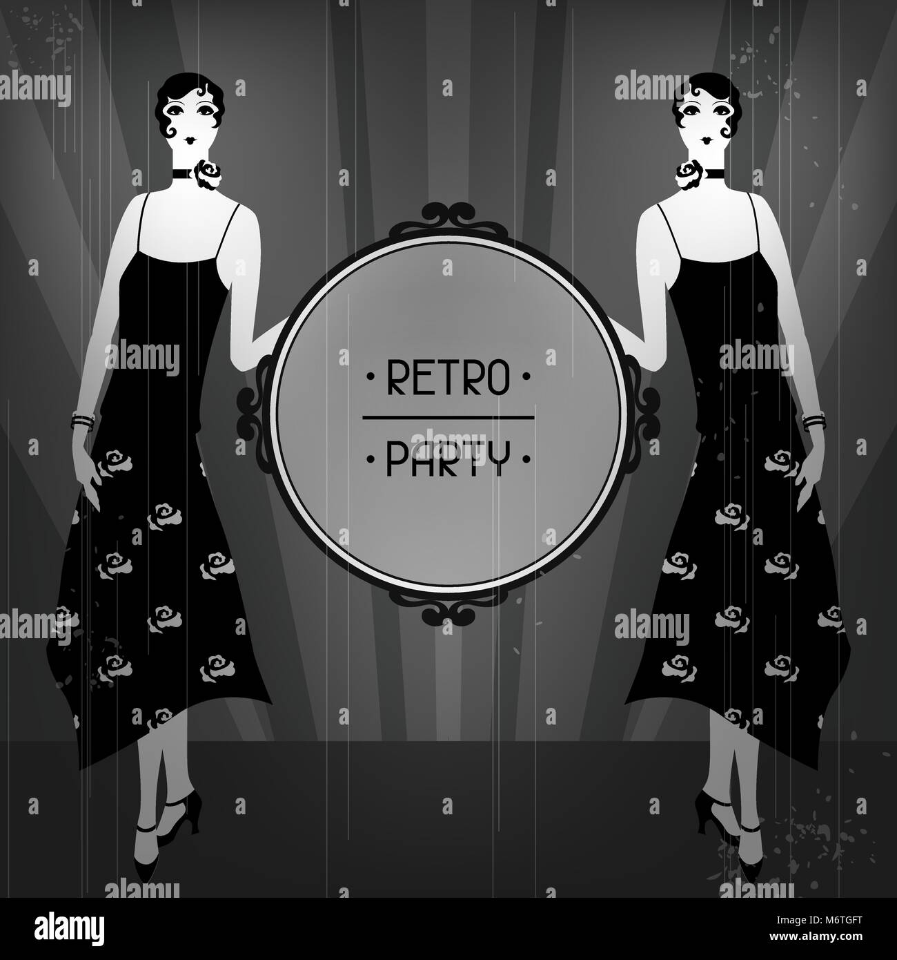 Retro party background with beautiful girl of 1920s style - Stock Vector