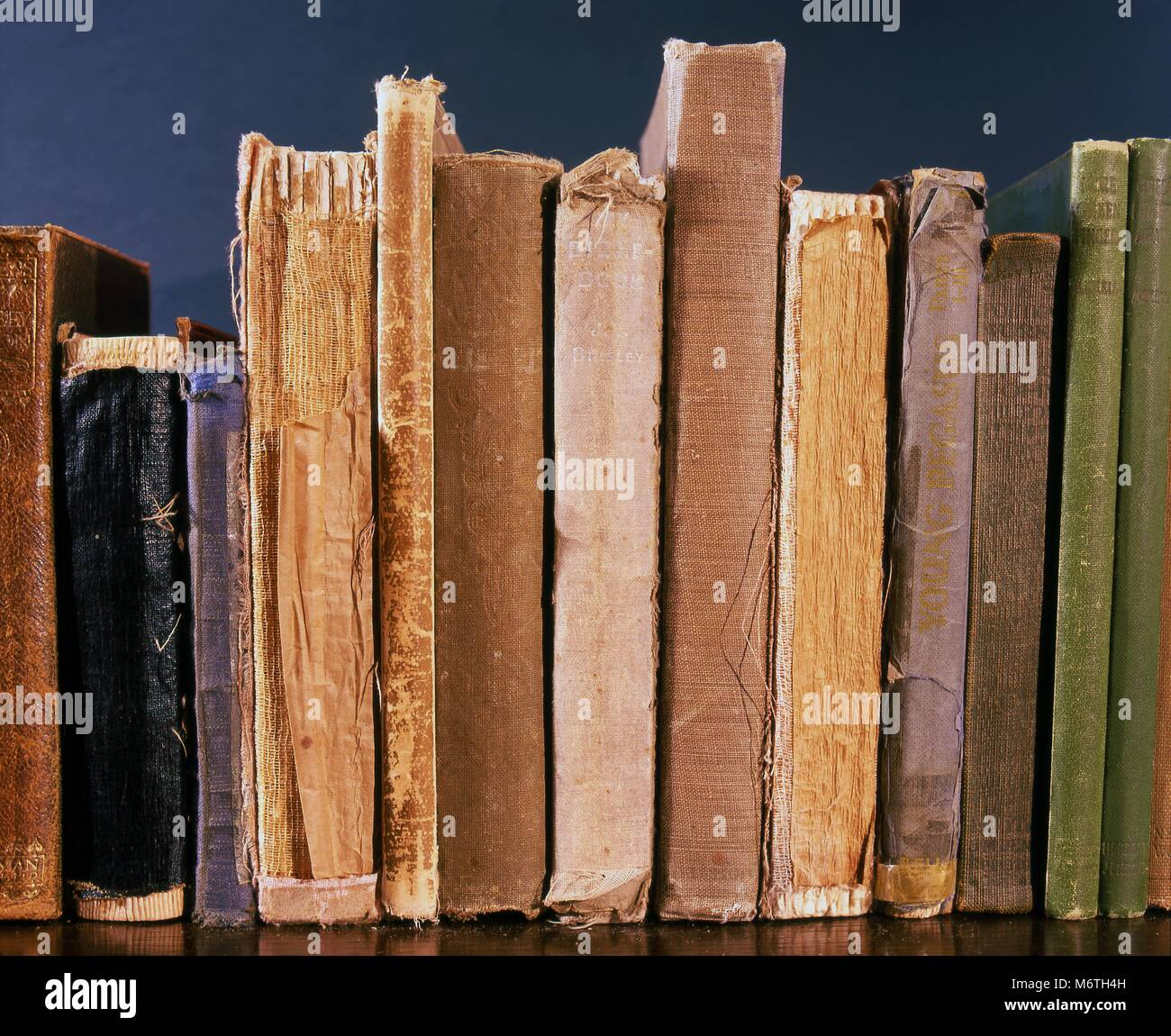 Old books on a shelf showing signs of wear and ageing. - Stock Image