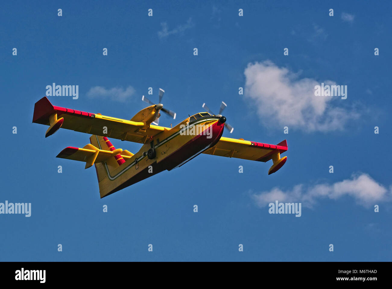 bombardier 415,  canadian amphibious aircraft in flight - Stock Image