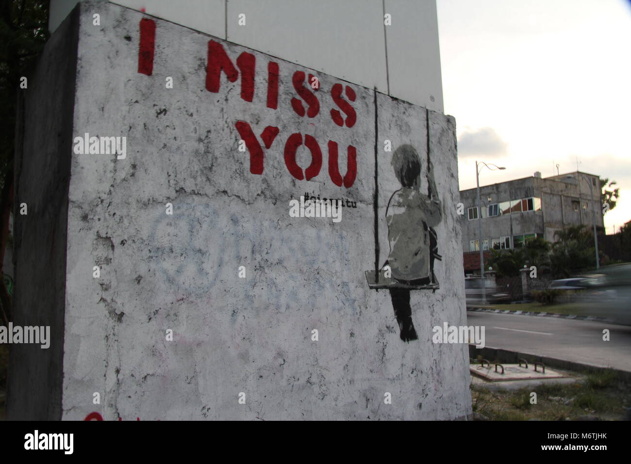 Bali Graffiti I Miss You And Banksy Like Stencil Of Child On A