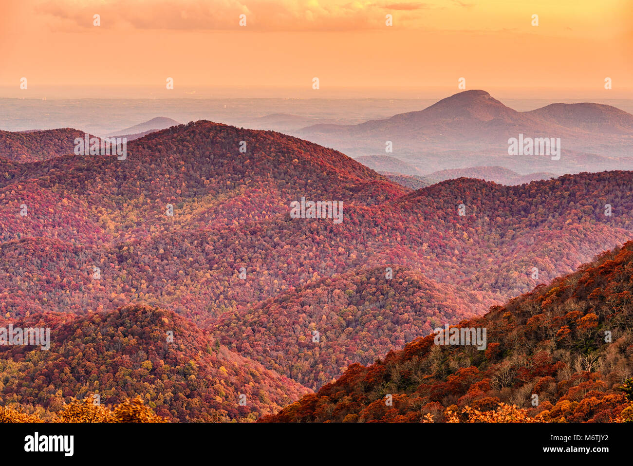 Brasstown Bald, Georgia, USA view of Blue Ridge Mountains towards Blood Mountain in autumn. - Stock Image