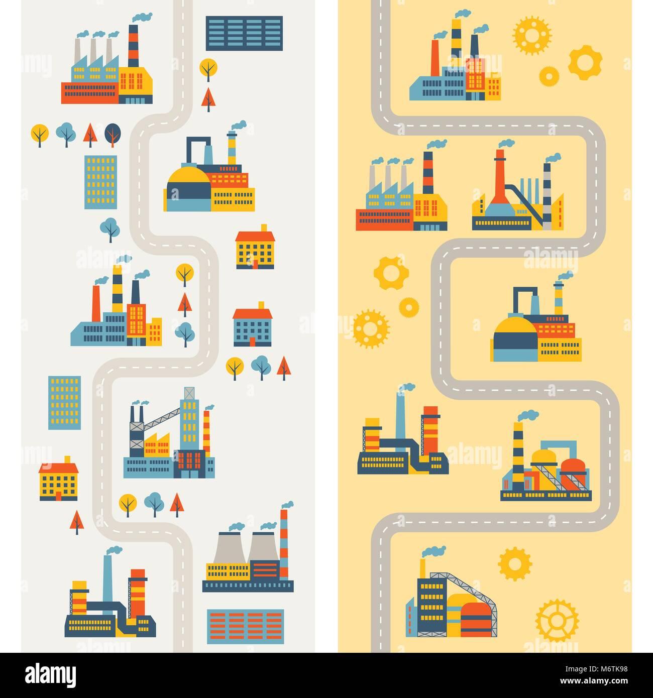 Industrial factory buildings vertical banners - Stock Vector