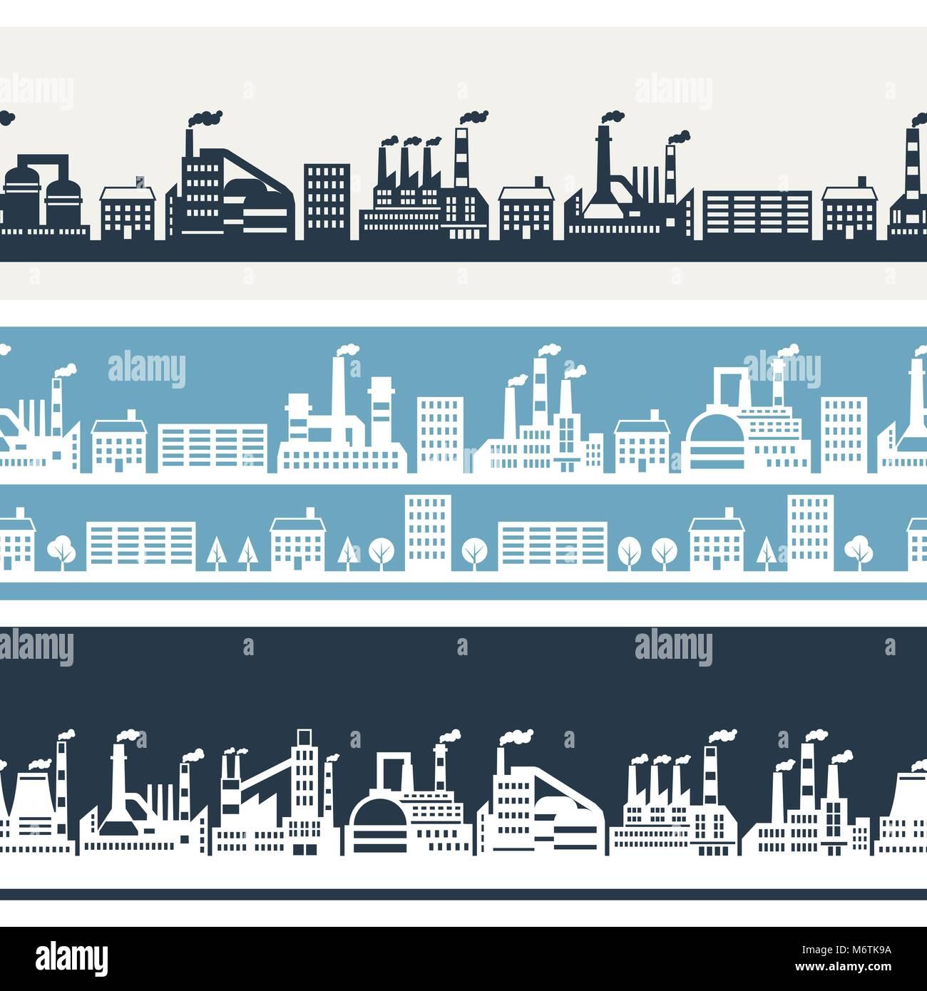 Industrial factory buildings horizontal banners - Stock Vector