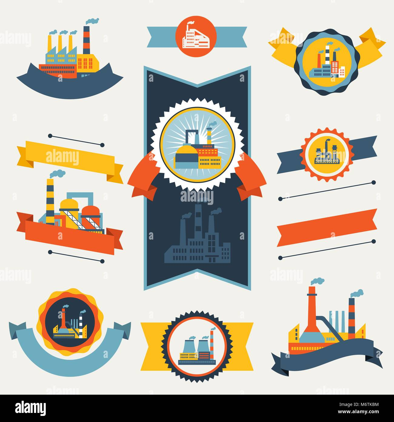 Industrial factory buildings banners, ribbons and badges - Stock Vector