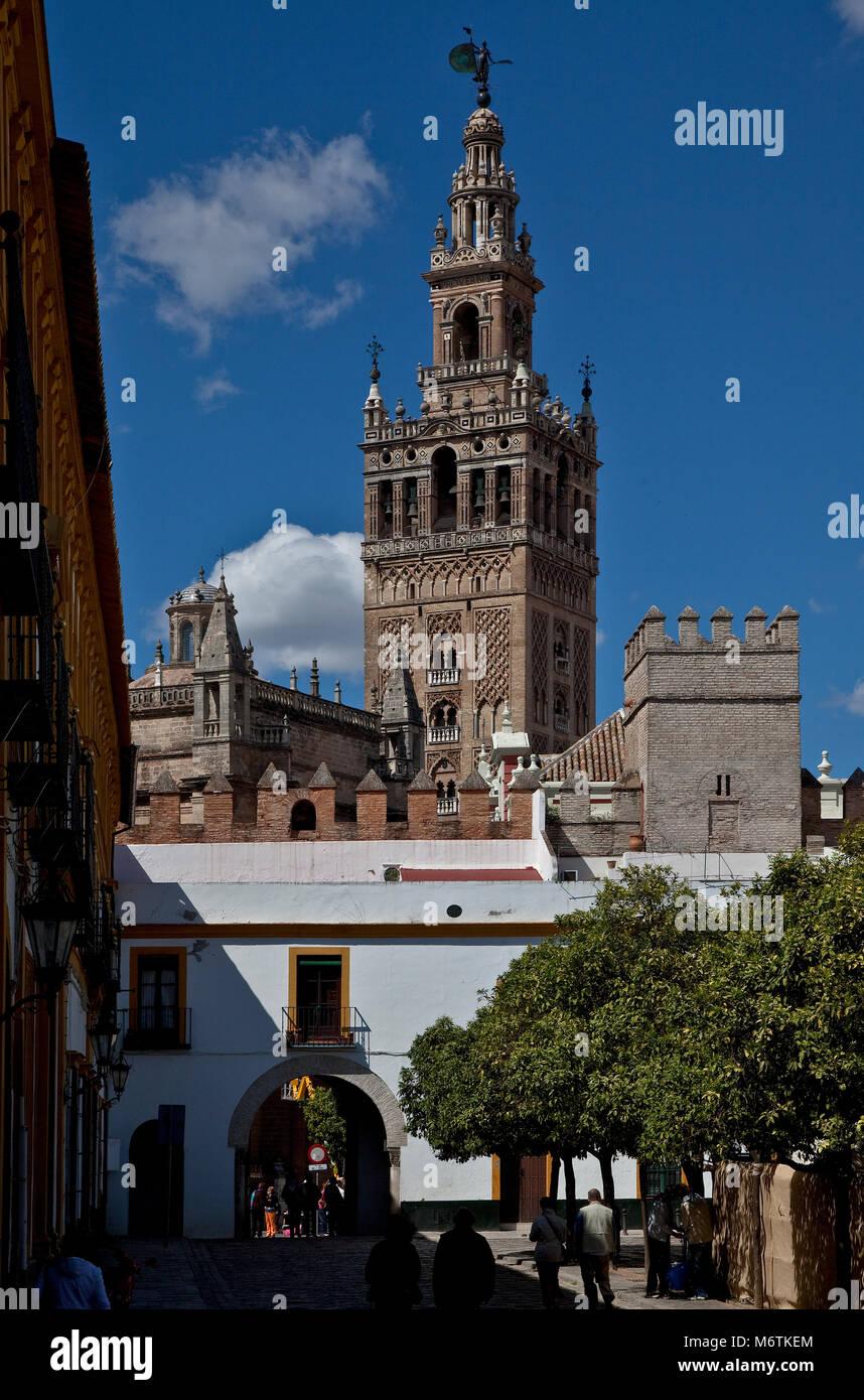 Sevilla, Kathedrale. Kathedrale von Sevilla mit Glockenturm - Stock Image