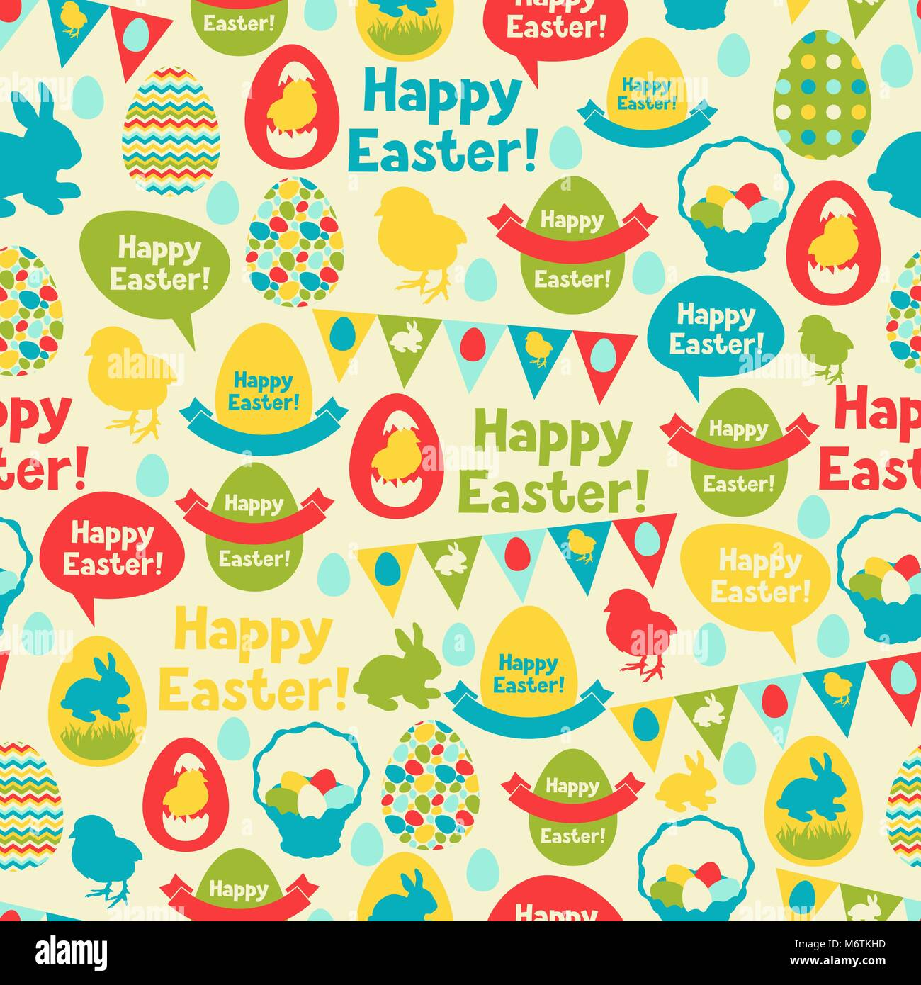 Happy Easter seamless pattern - Stock Image