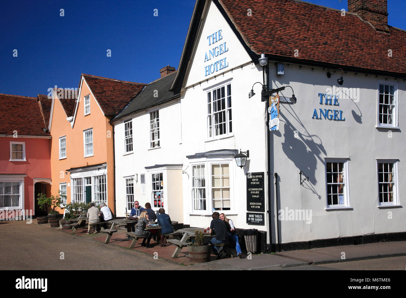 Exterior of the Angel Hotel, Lavenham village, Suffolk County, England, UK - Stock Image