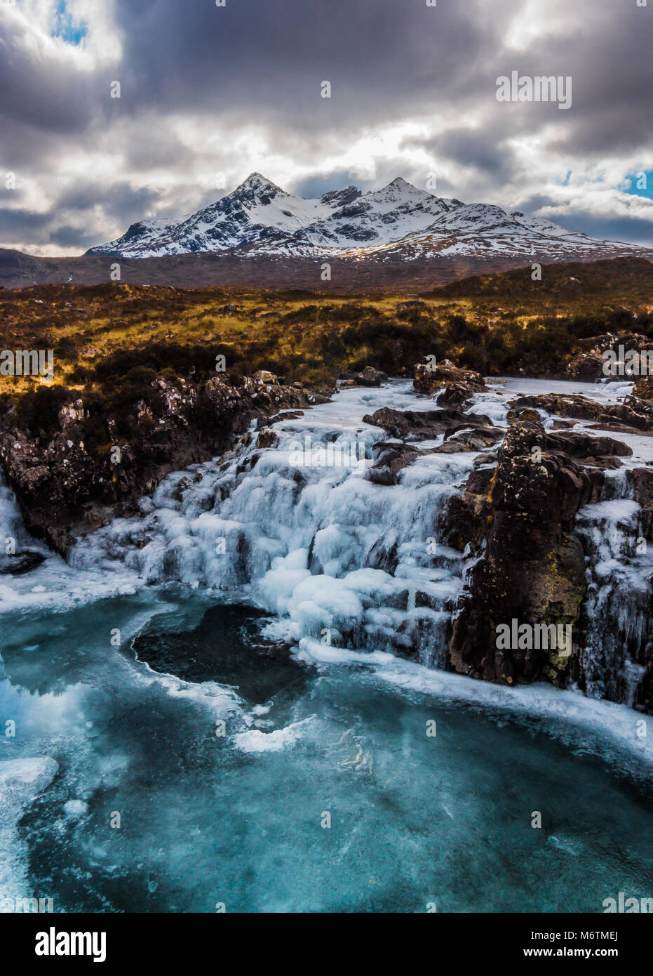 Frozen Waterfall, Allt Dearg, Cuillin Mountains - Stock Image