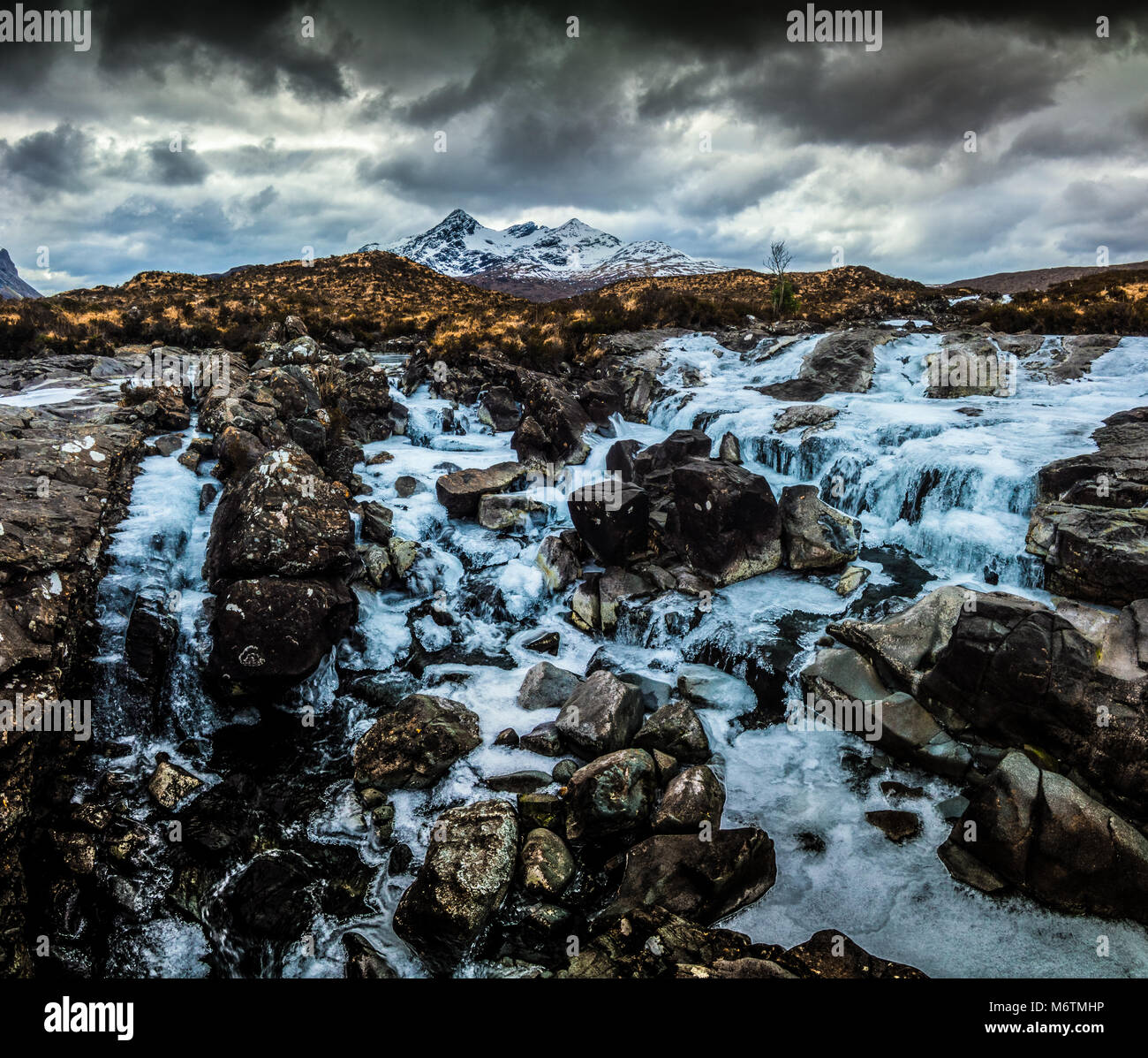 Frozen Waterfall, Cuillin Mountains - Stock Image