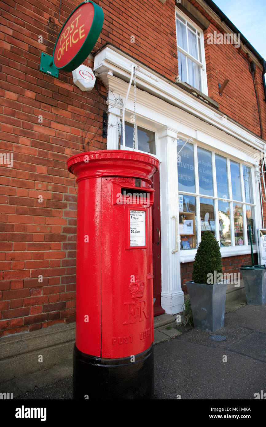 Post Office and shops along the high street, Lavenham village, Suffolk County, England, UK - Stock Image