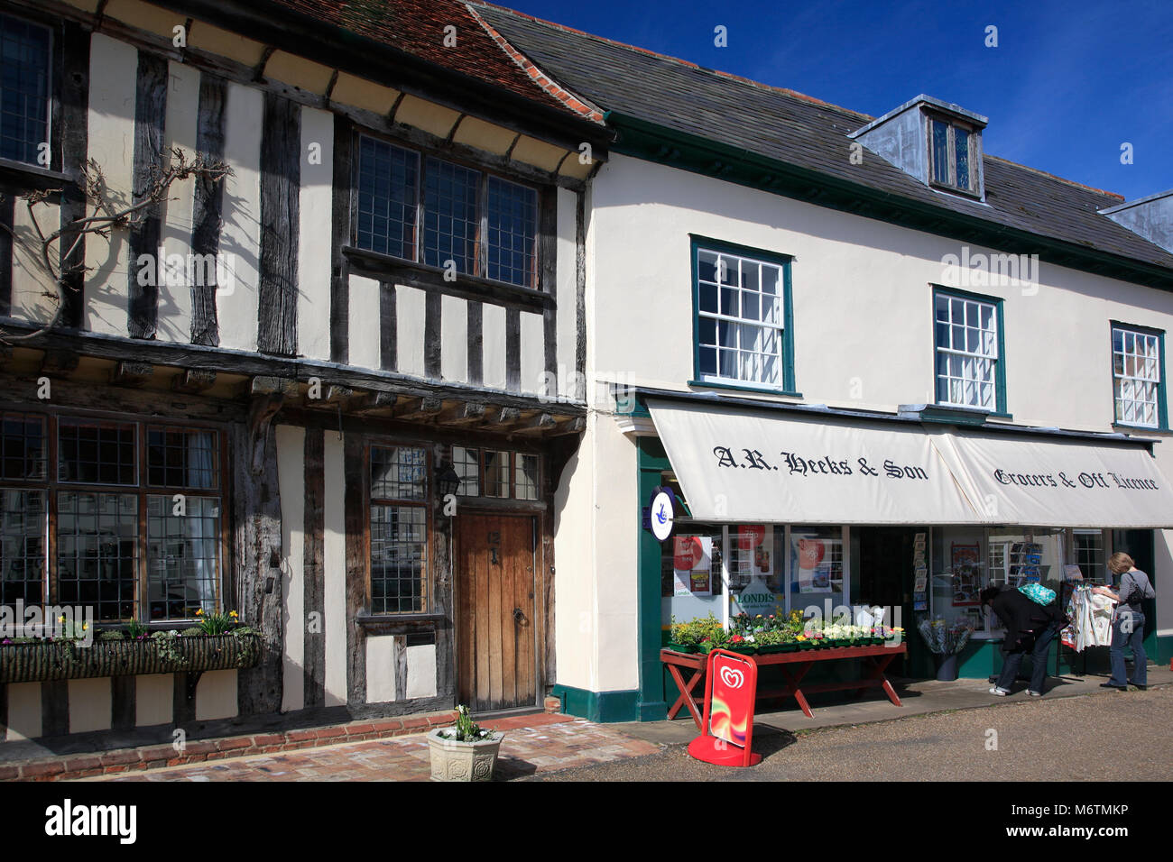 Shops along the high street, Lavenham village, Suffolk County, England, UK - Stock Image