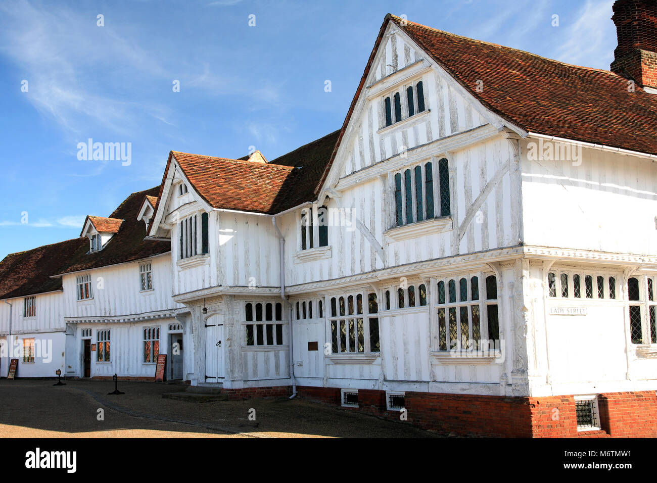 The Corpus Christi Guildhall, Market square, Lavenham village, Suffolk County, England, Britain. Built in the 16th - Stock Image