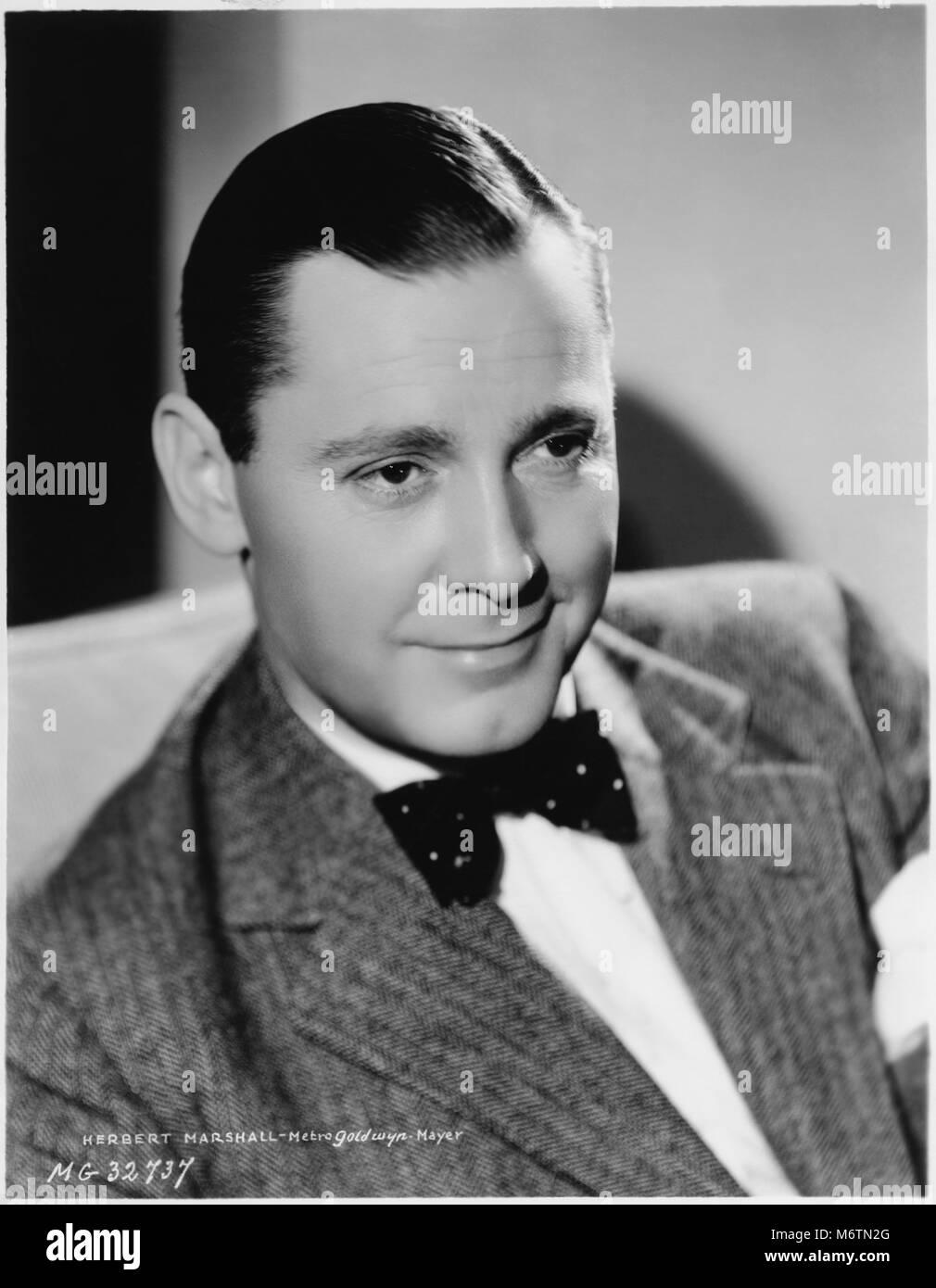 Herbert Marshall, Publicity Portrait, MGM, 1934 - Stock Image