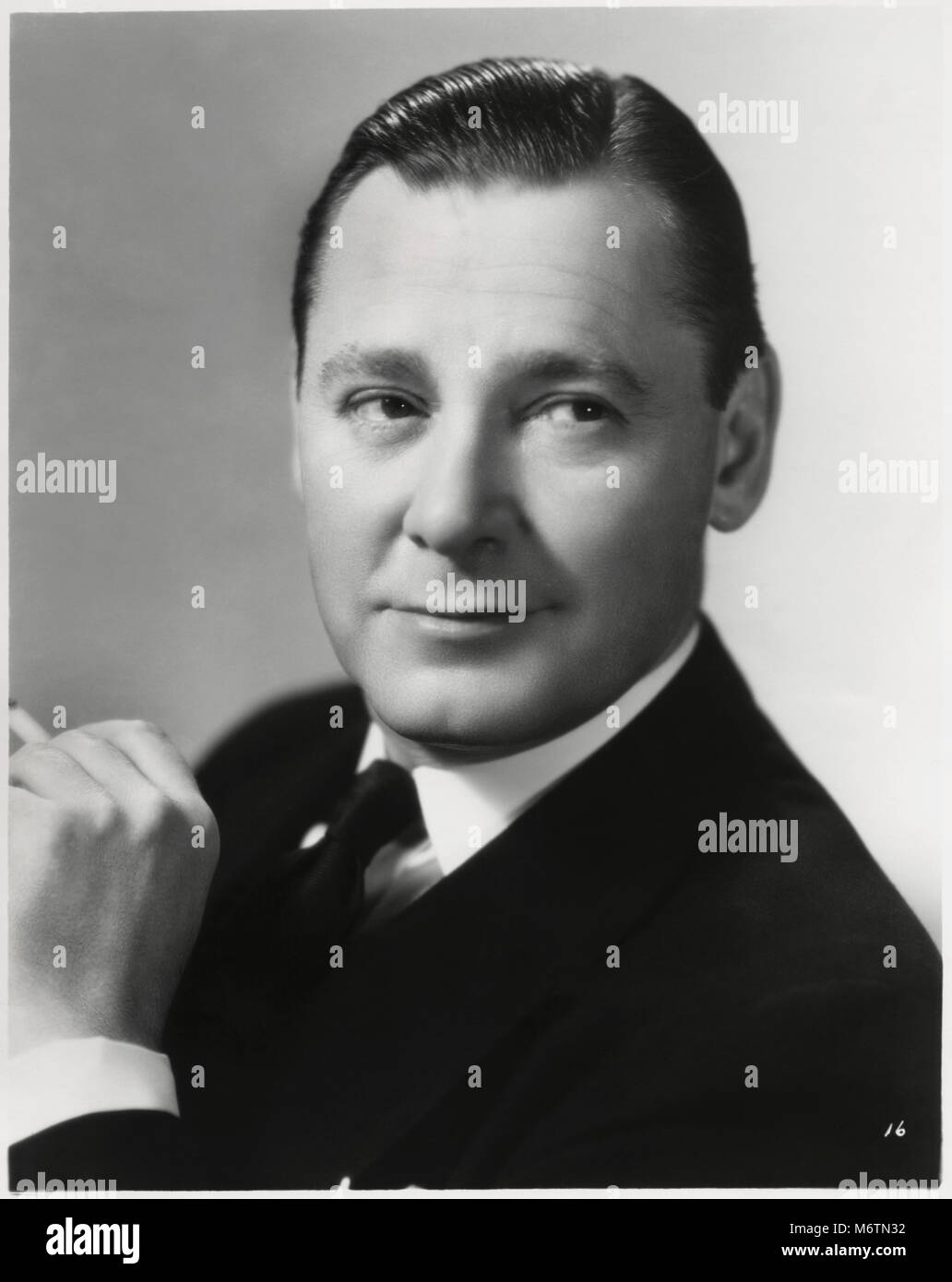 Herbert Marshall, Publicity Portrait for the Film, 'Mad About Music', Universal Pictures, 1938 - Stock Image