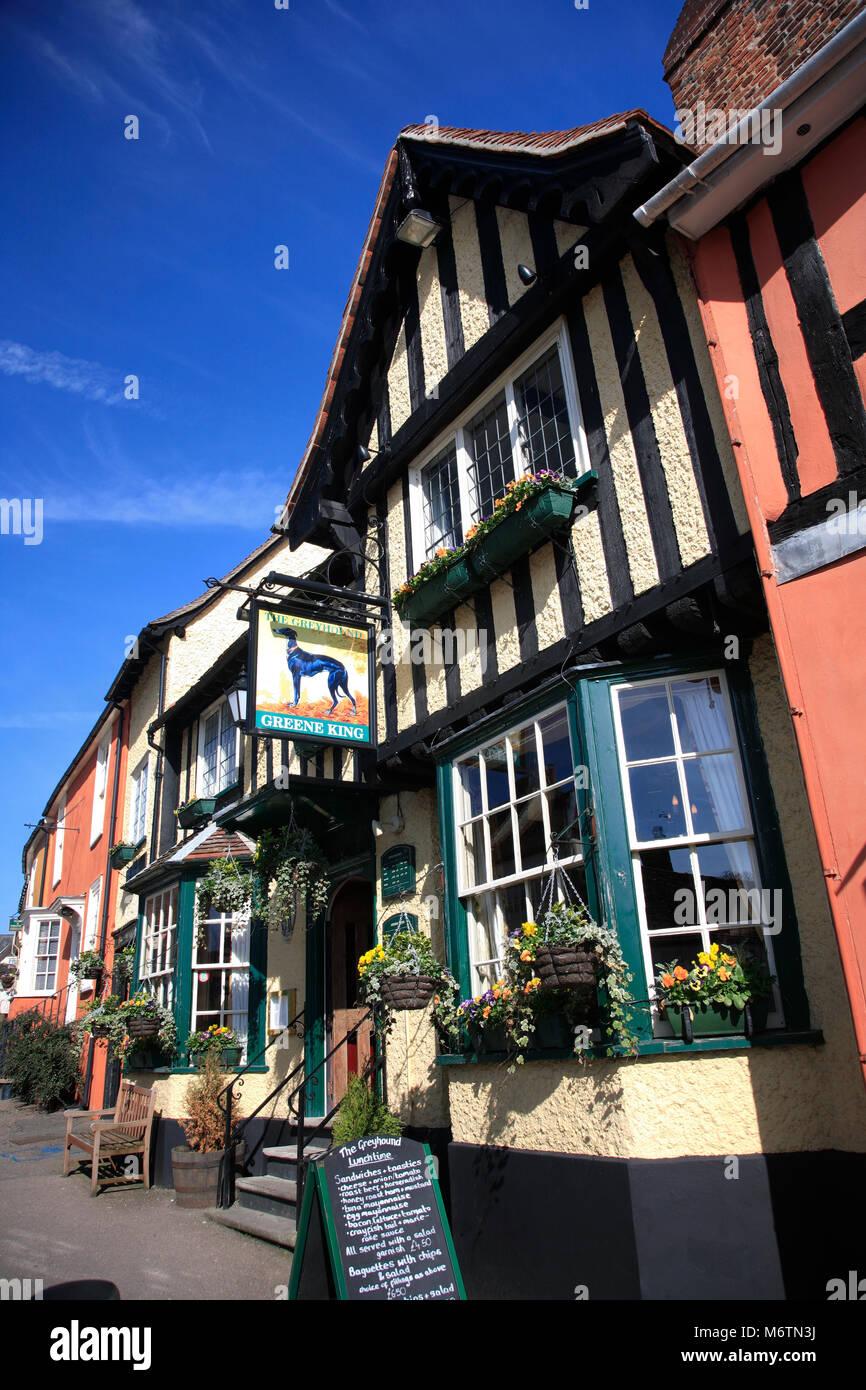 The Greyhound Pub, Lavenham village, Suffolk County, England, UK - Stock Image