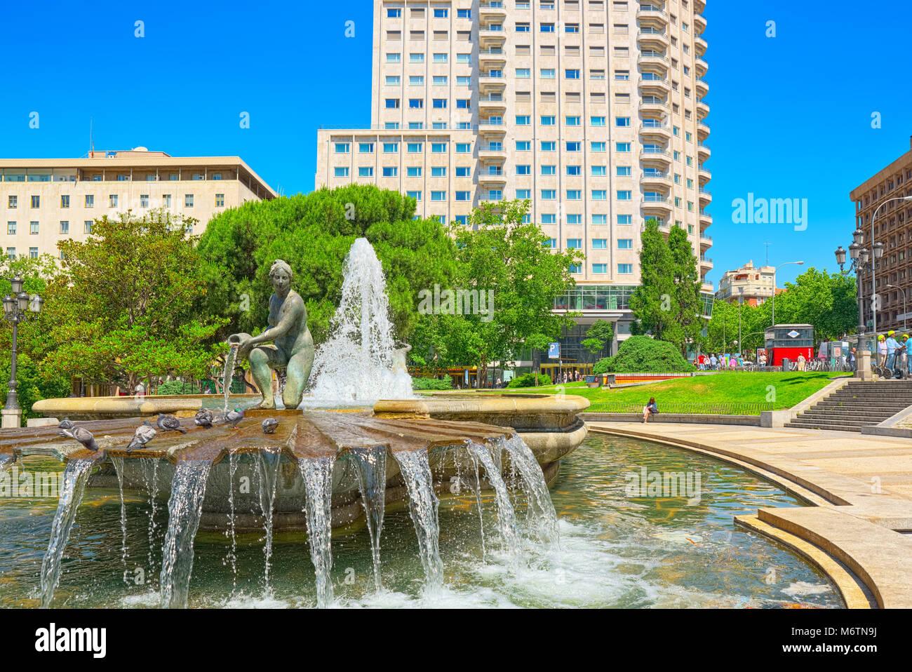 Madrid, Spain - June 05, 2017 : Spain Square (Plaza de Espana)  is a large square, a popular tourist destination Stock Photo