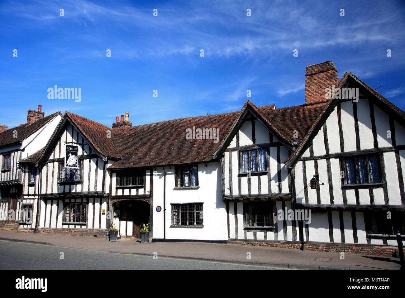 Exterior of the Swan Hotel, Lavenham village, Suffolk County, England, UK - Stock Image