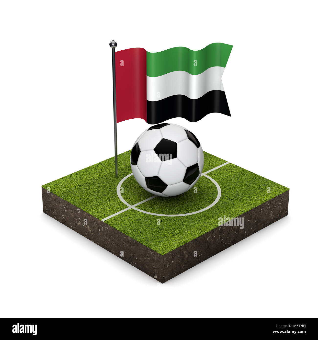 United Arab Emirates flag football concept. Flag, ball and soccer pitch isometric icon. 3D Rendering - Stock Image