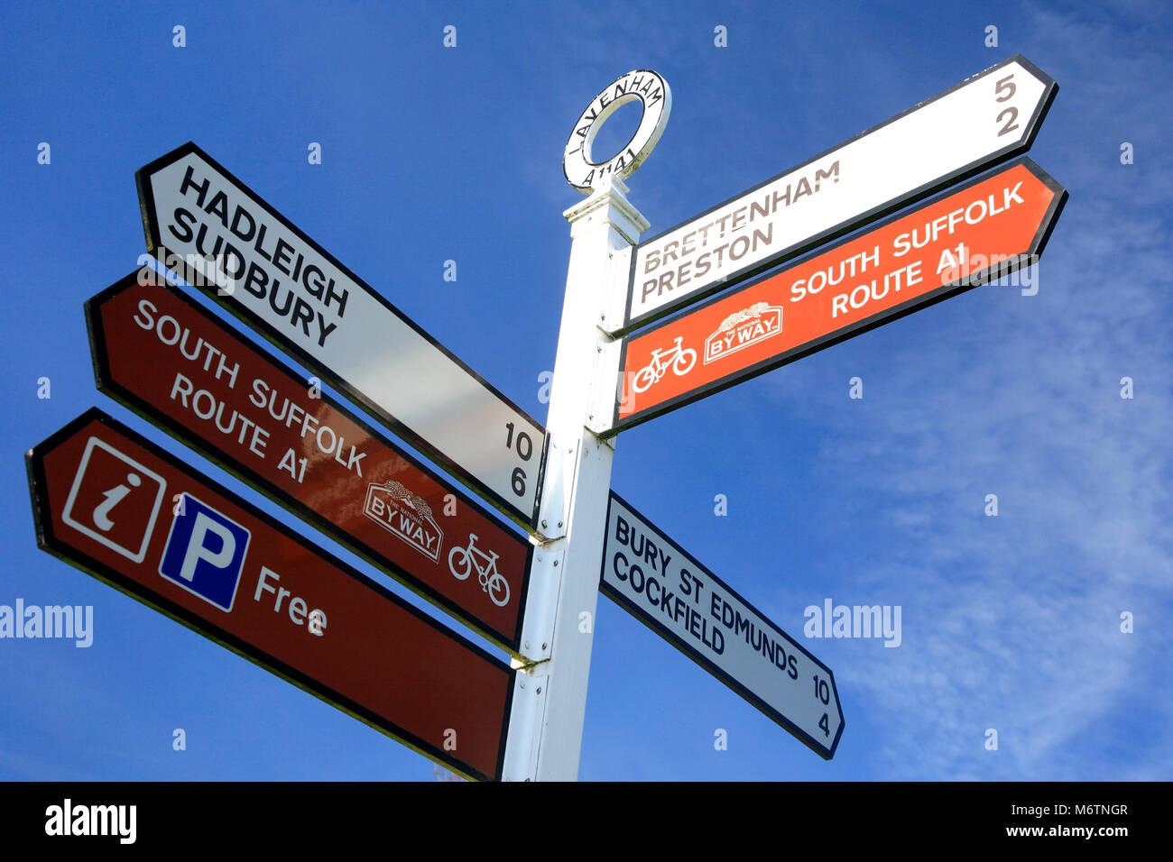 Tourist Information Sign, Lavenham village, Suffolk County, England, UK - Stock Image