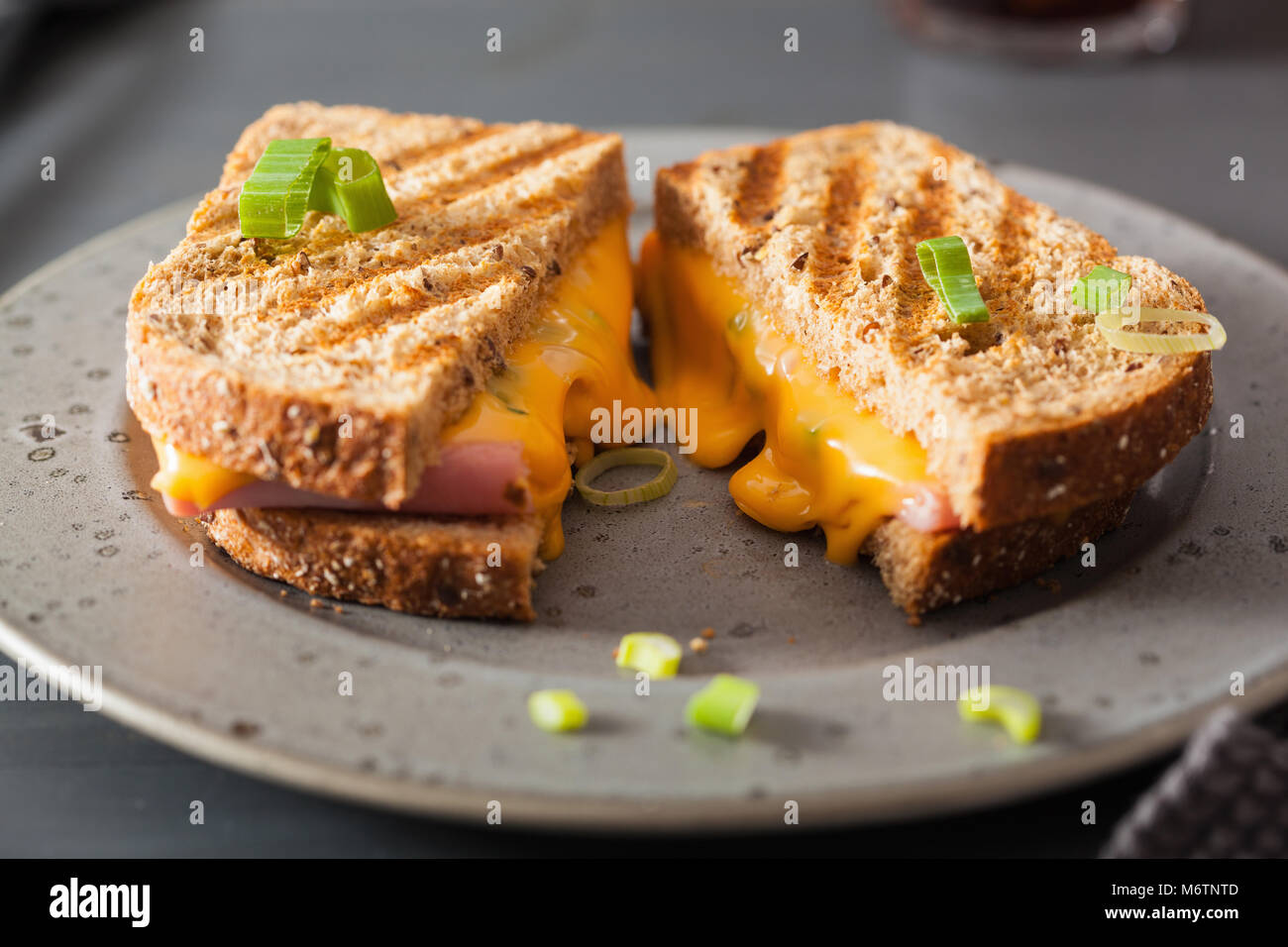 grilled ham and cheese sandwich - Stock Image