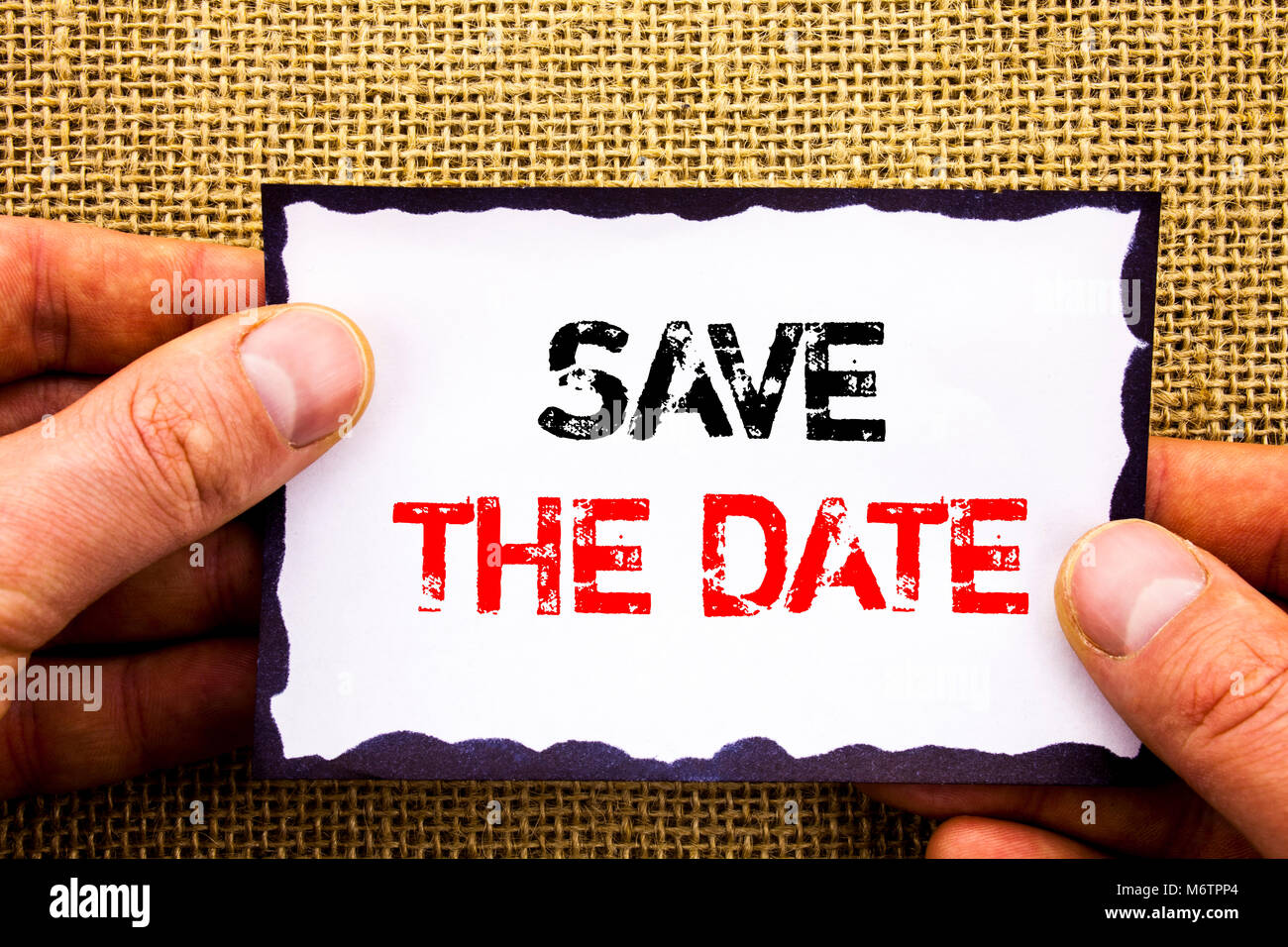 Writing text showing  Save The Date. Concept meaning Wedding Anniversary Invitation Reminder written Sticky Note - Stock Image
