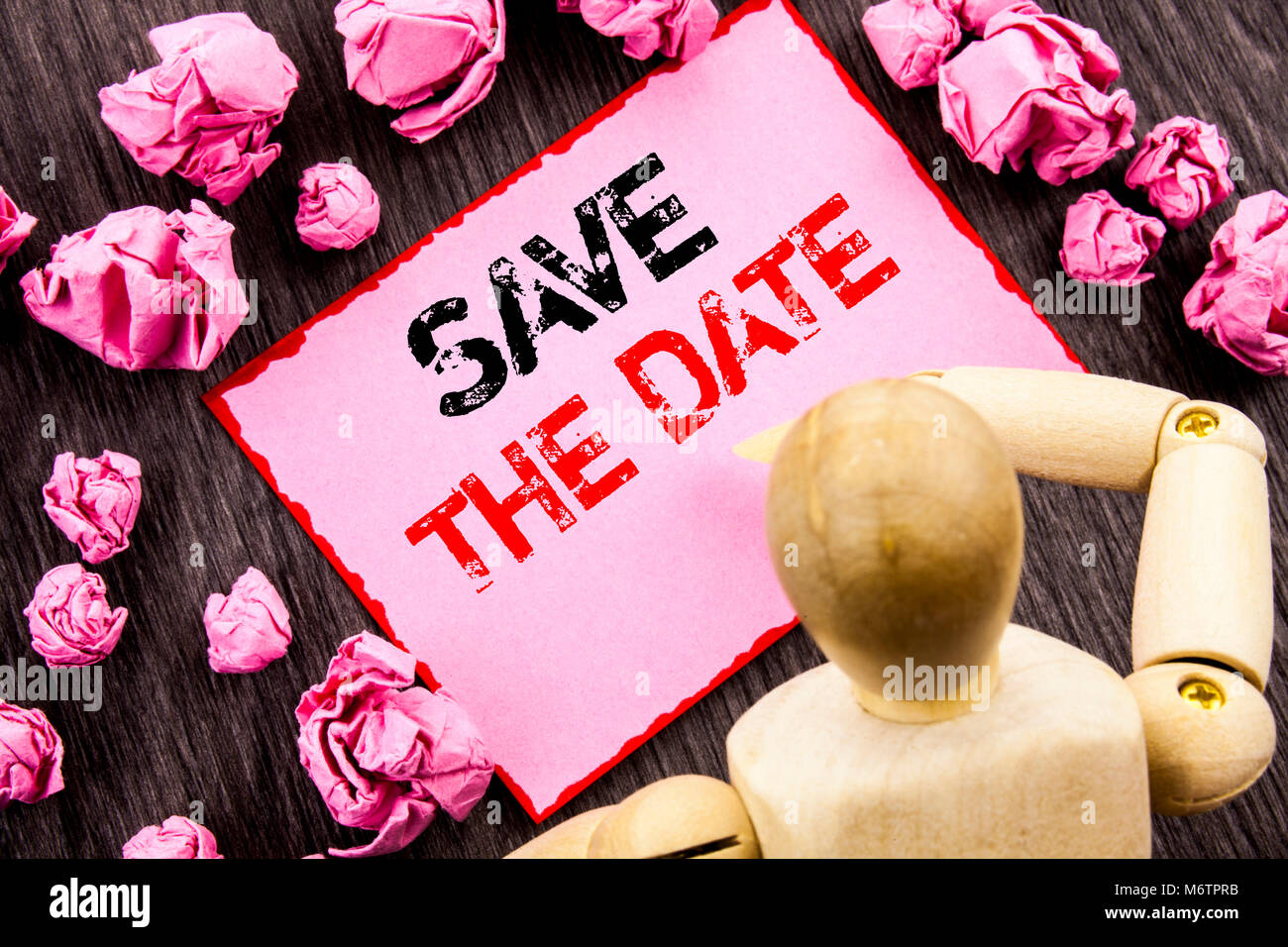 Conceptual hand text showing save the date concept meaning