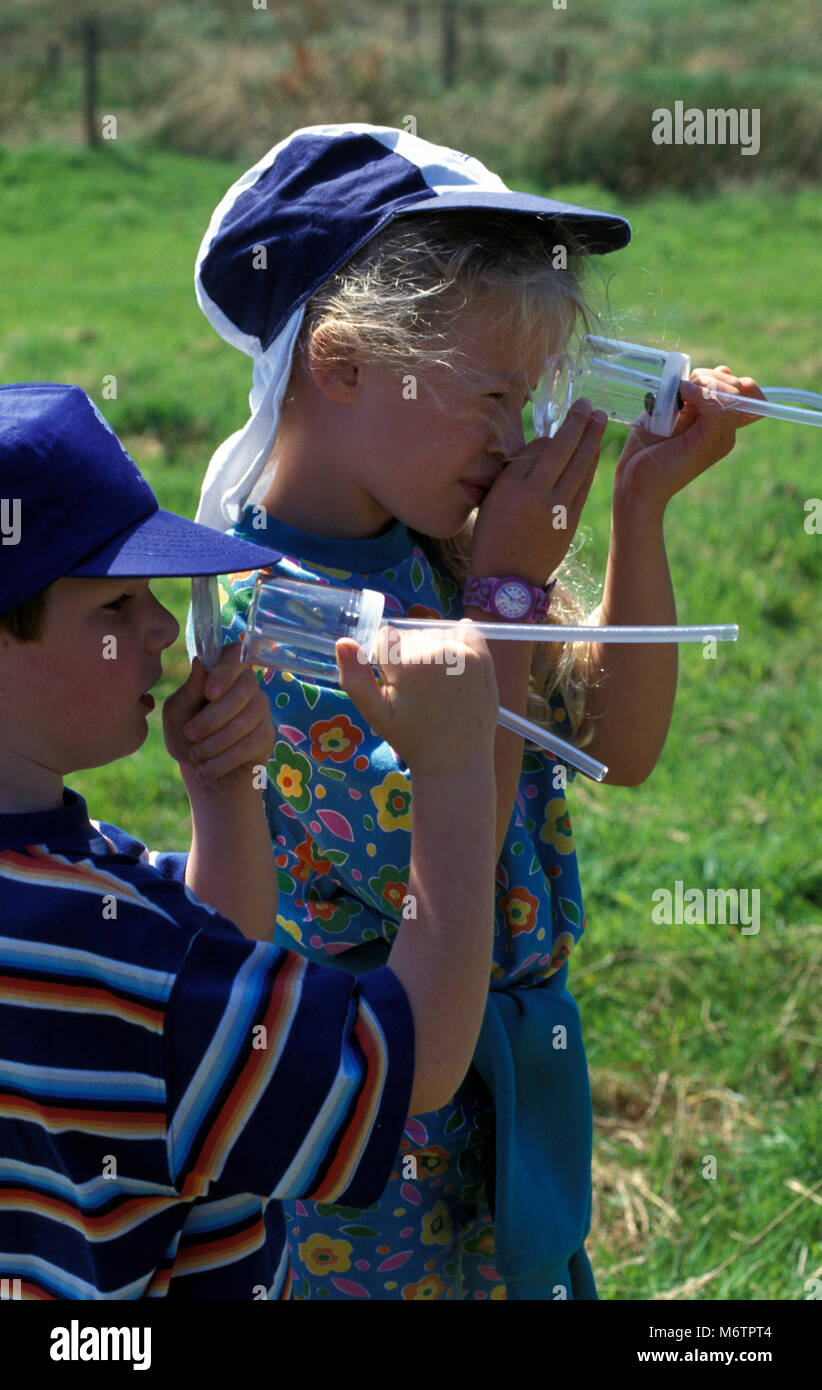 Two children looking at bugs through pooter - Stock Image