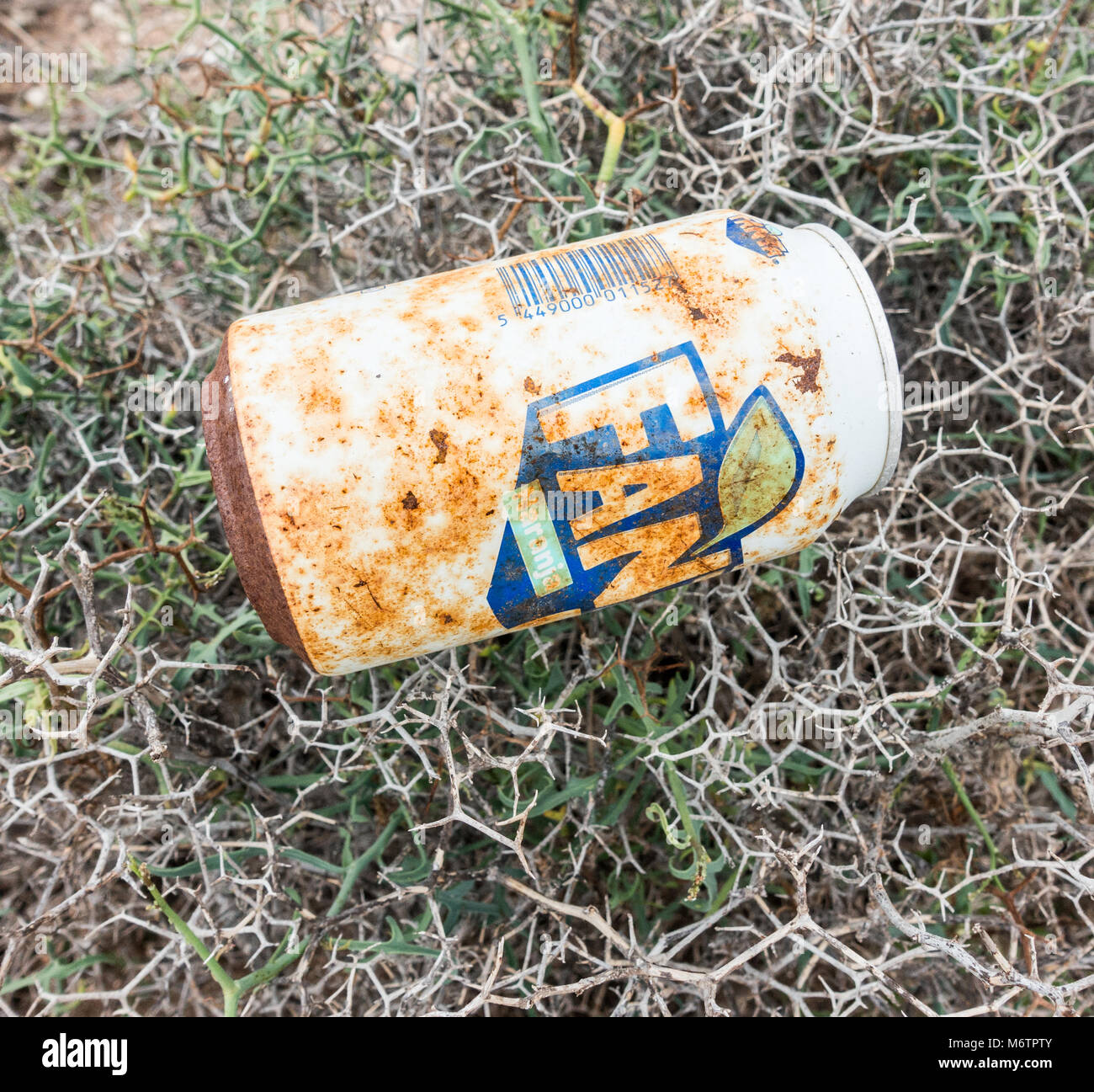Rusty, discarded Fanta tin in countryside - Stock Image