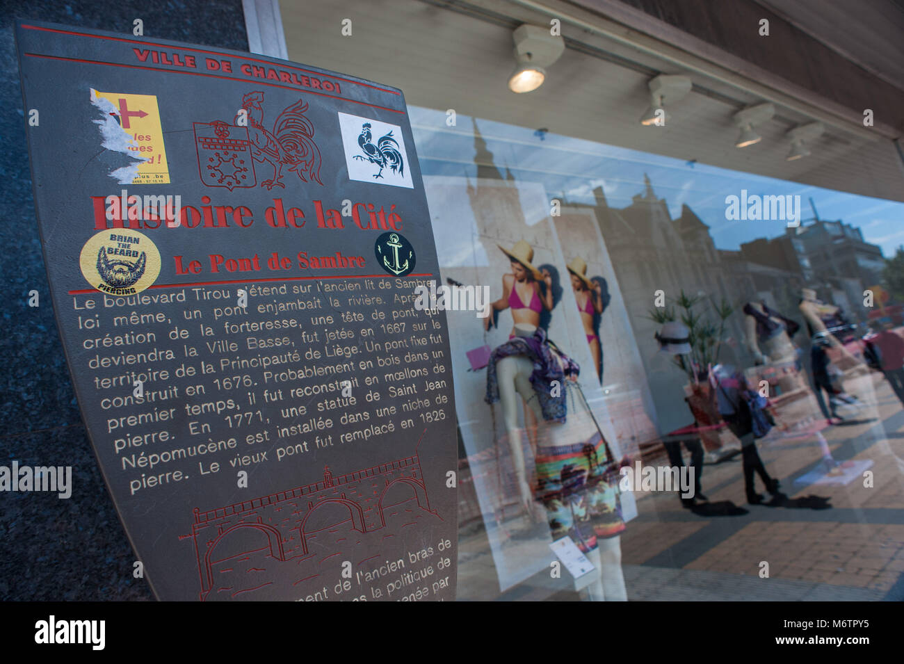 Charleroi, noticeboard tells the history of the city. Belgium. - Stock Image