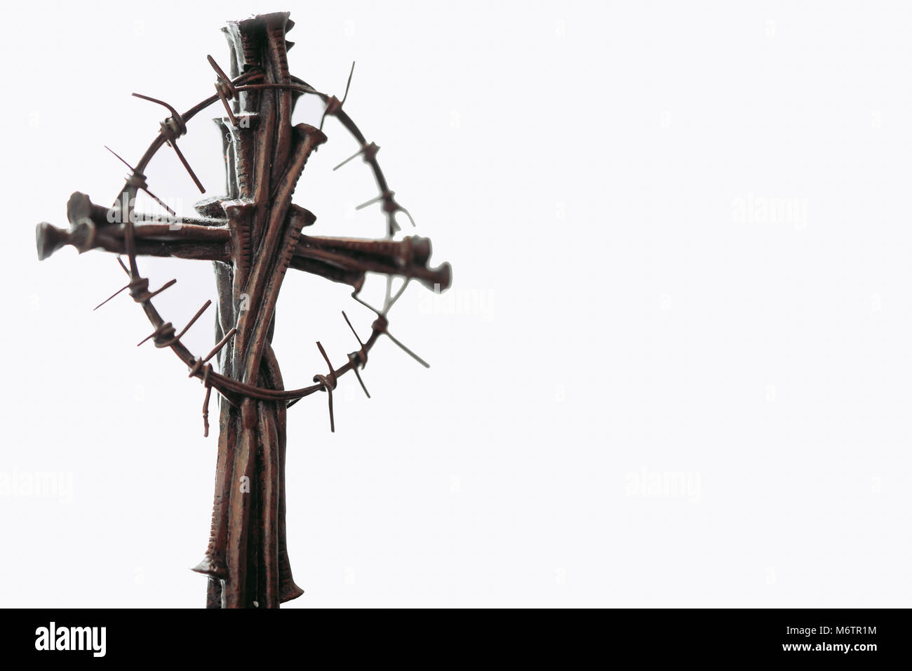 Holy cross, crown of thorns and nails.Easter and Good friday concept.Worship God concept.The Jesus Christ crown - Stock Image