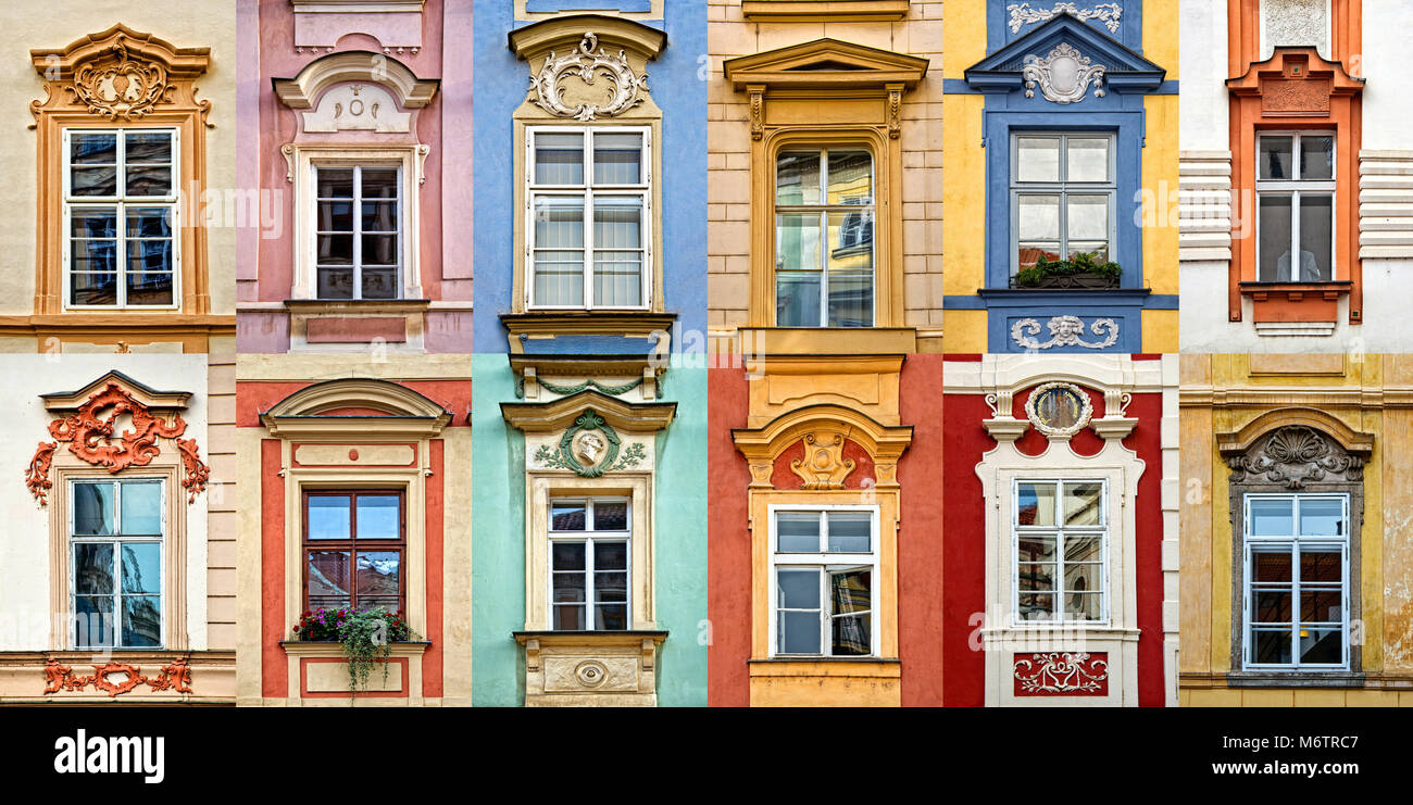 Collage of colorful windows with pediment of Prague, Czech Republic - Stock Image