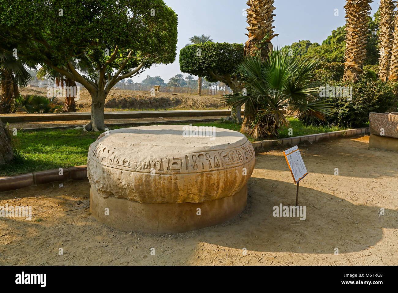Two inscribed and carved limestone column bases from the throne room of King Merneptah, son of Ramesses II, Memphis, - Stock Image