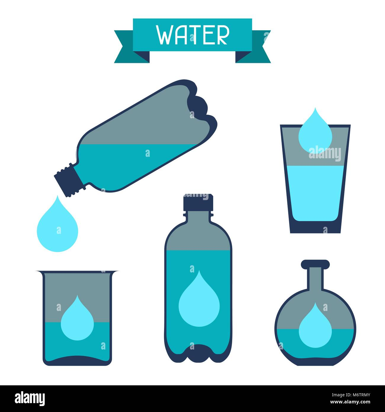 Water storage capacity icons in flat design style - Stock Vector
