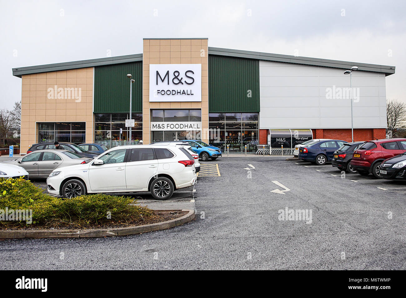 Marks and Spencer Foodhall, viewed here at their business in Meole Brace Retail Park. - Stock Image