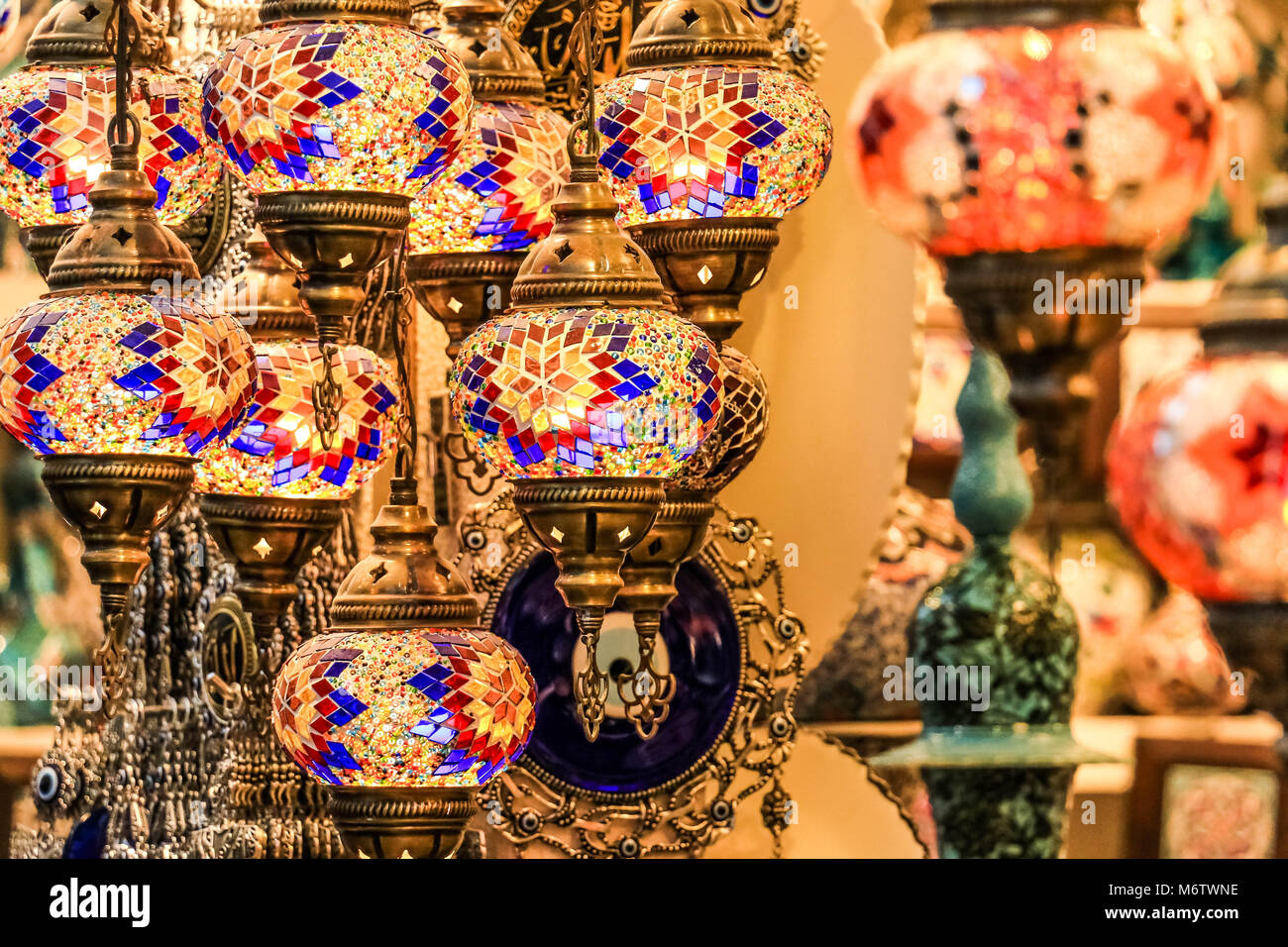 Traditional Bright Decorative Hanging Turkish Lamps And Colourful Stock Photo Alamy