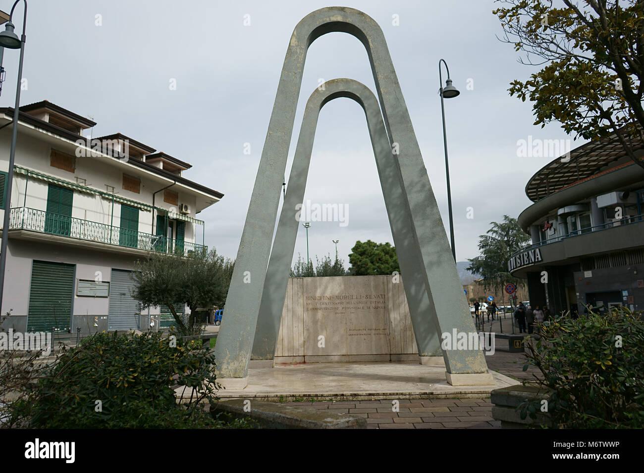 Piazza Guglielmo Marconi - Via Principessa Margherita, Monumento ai caduti sul lavoro, City of Nola, Italy Stock Photo