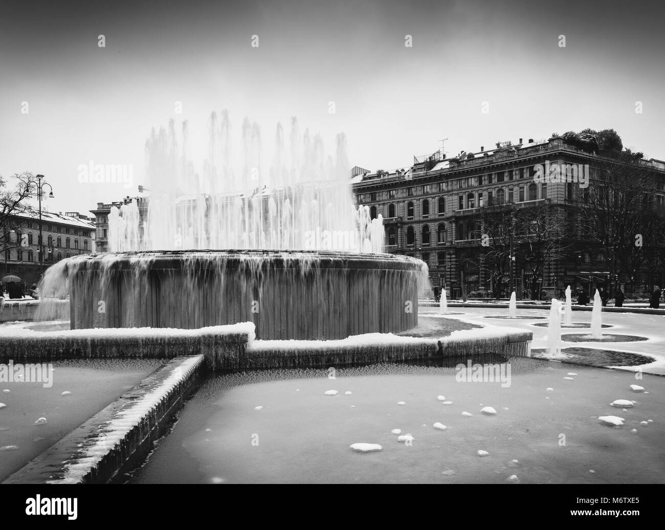 Fountain in front of Sforza Castle, Italian: Castello Sforzesco, - Stock Image