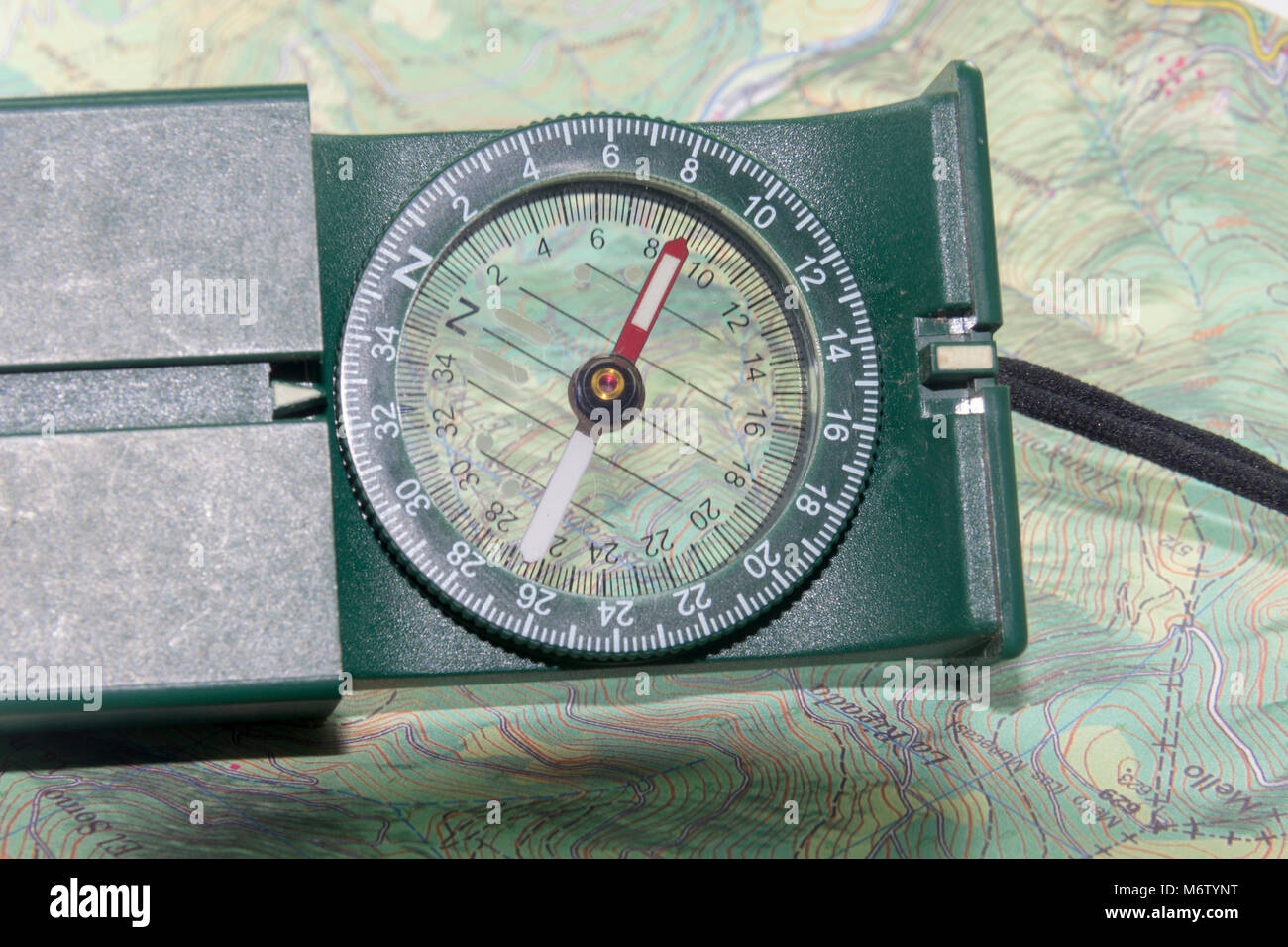 compass in a map - Stock Image