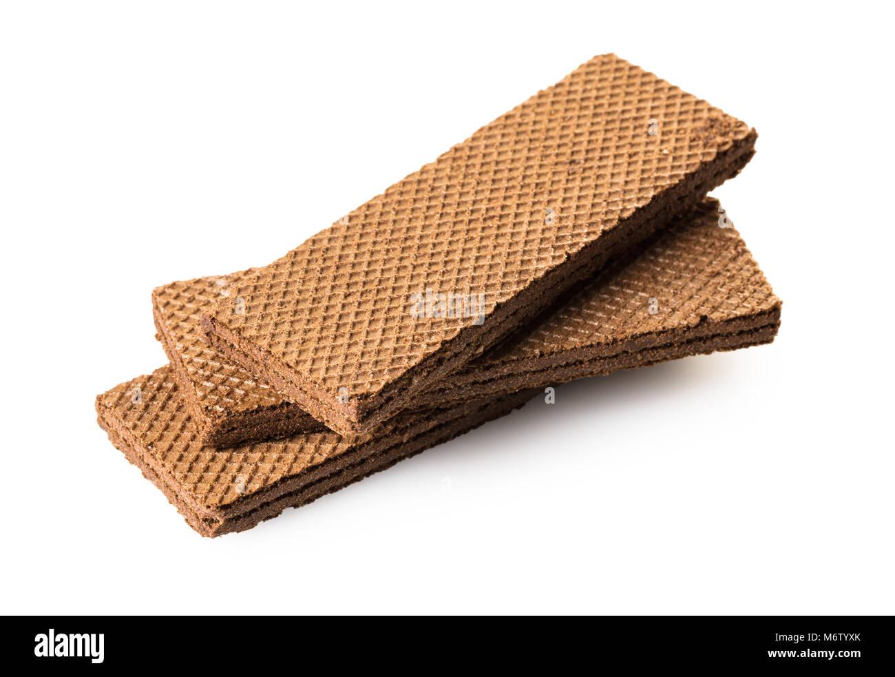 chocolate waffles close-up on white isolated background - Stock Image