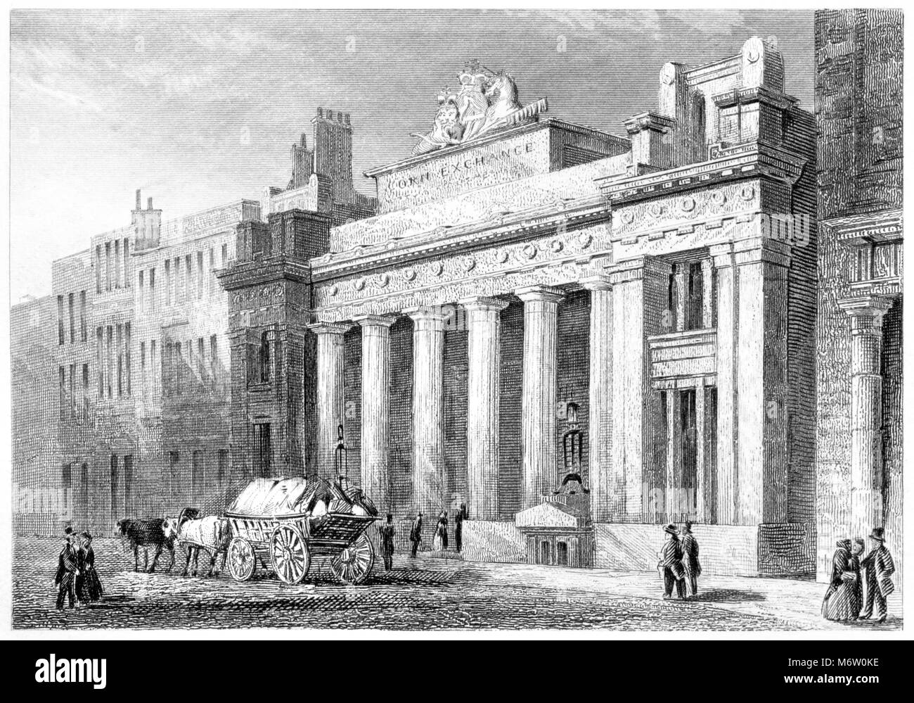 An engraving of The Corn Exchange, Mark Lane, London scanned at high resolution from a book printed in 1851.  Believed - Stock Image